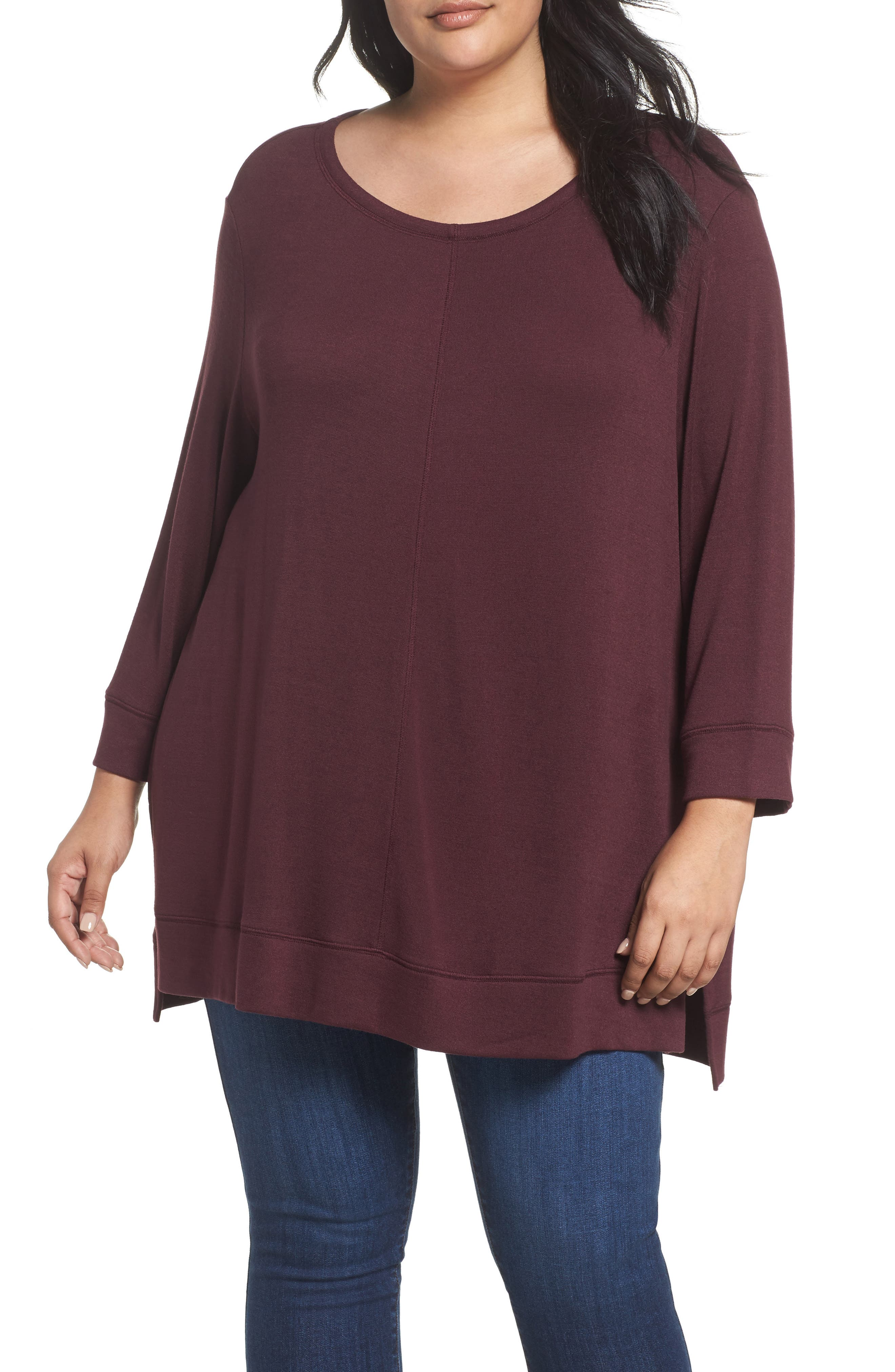 Caslon® Three Quarter Sleeve Modal Blend Knit Top (Plus Size)