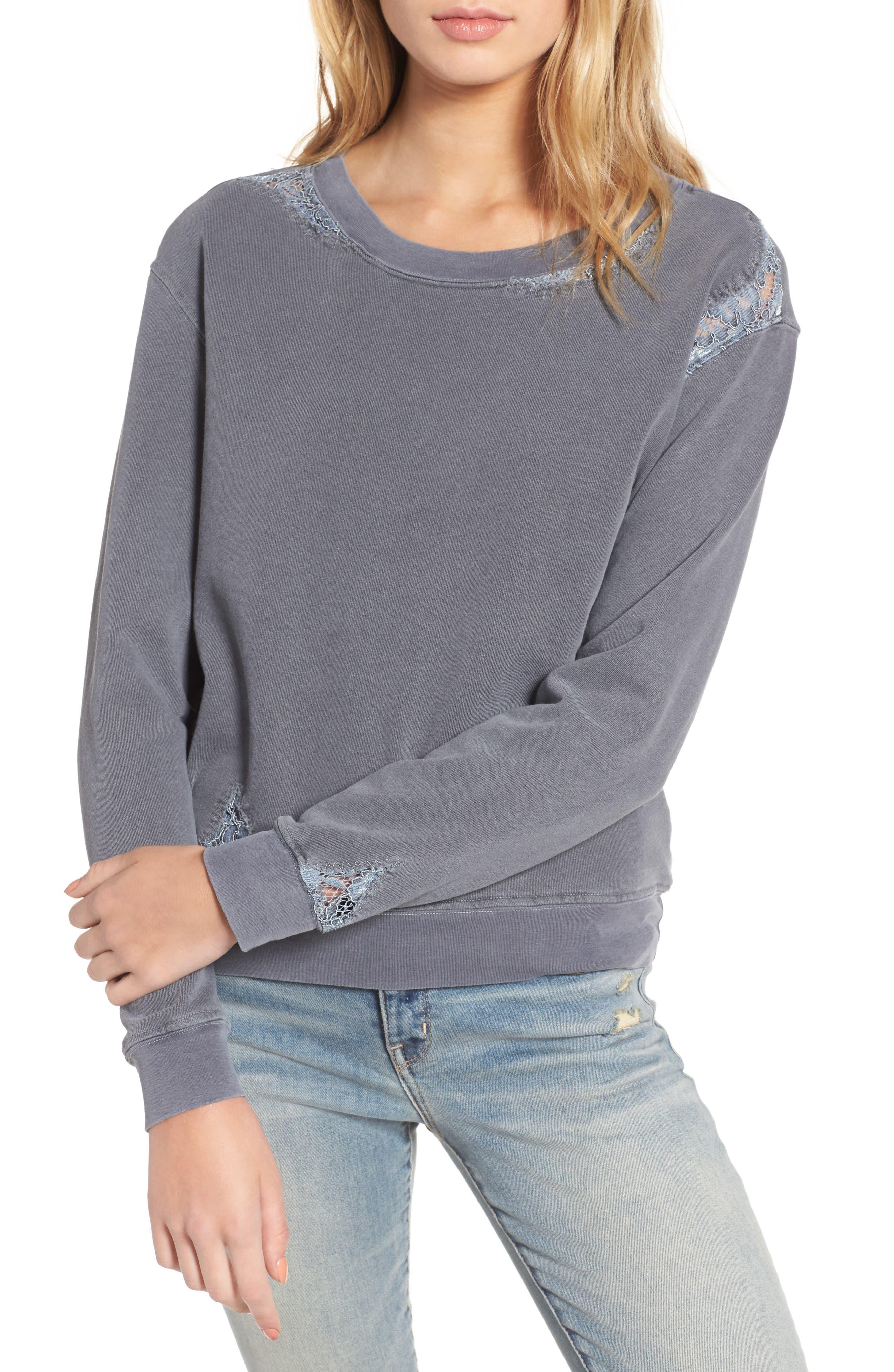 Lace Trim Sweatshirt,                         Main,                         color, Charcoal