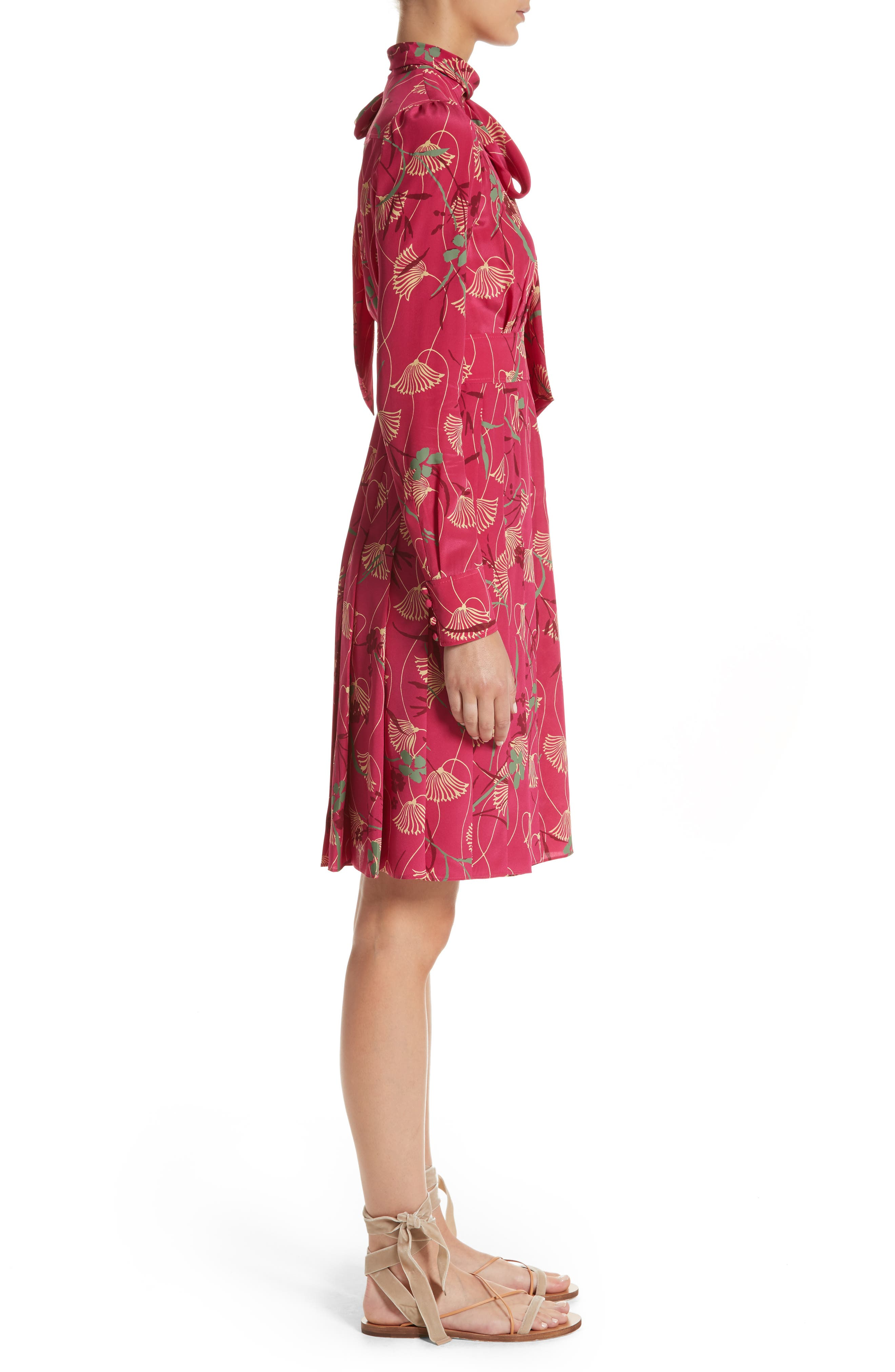 Lotus Print Silk Tie Neck Dress,                             Alternate thumbnail 3, color,                             Pink