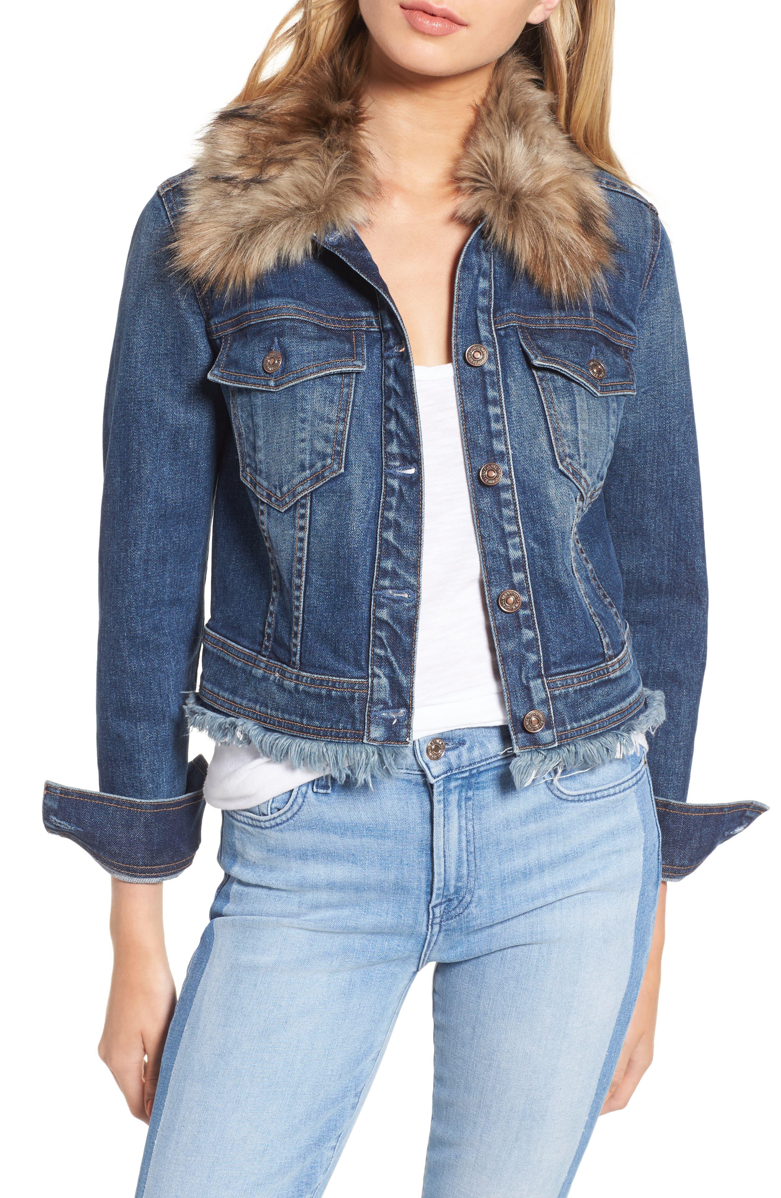7 For All Mankind® Faux Fur Trim Crop Boyfriend Jacket