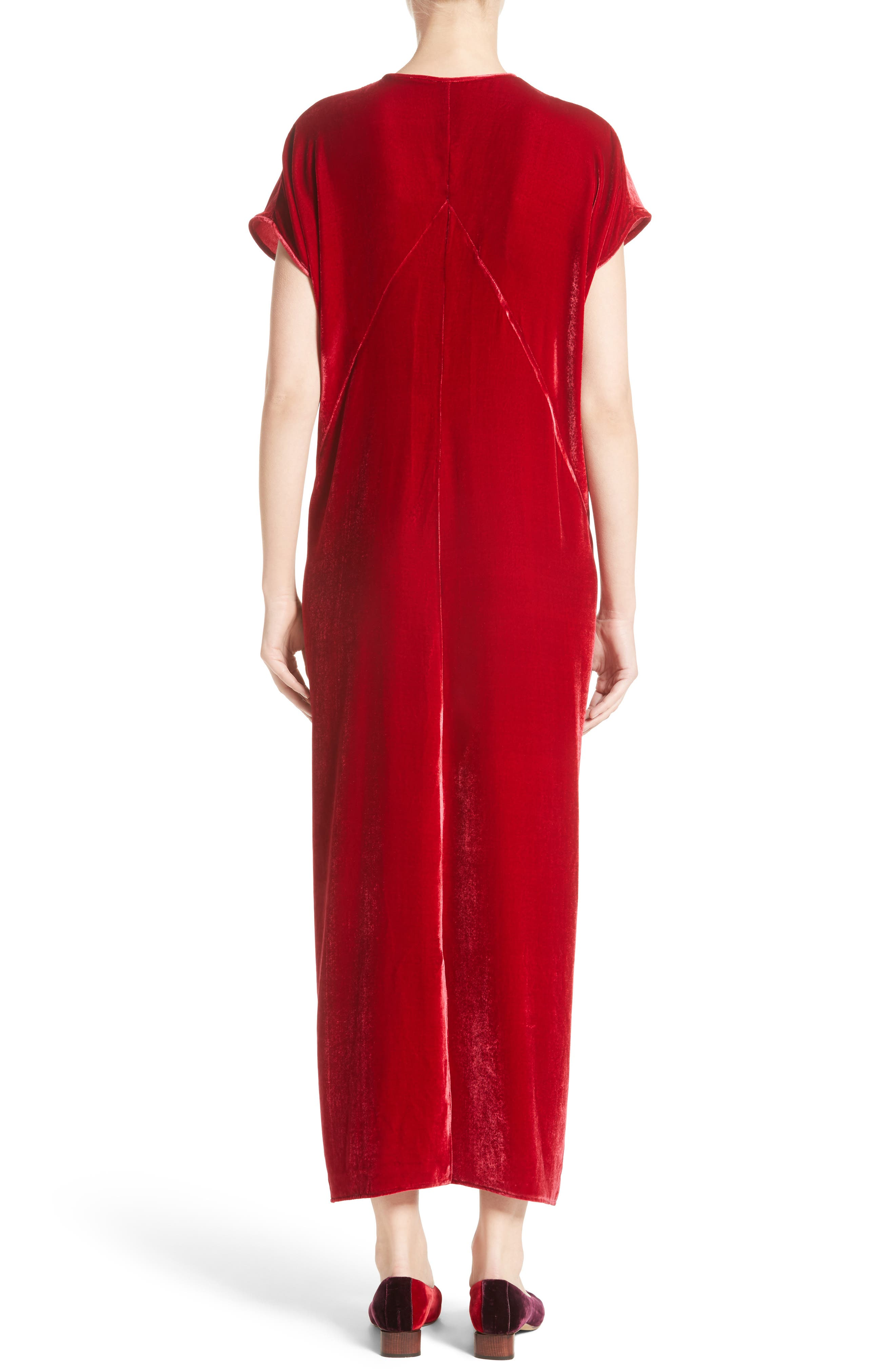 Sana Velvet Dress,                             Alternate thumbnail 2, color,                             Crimson