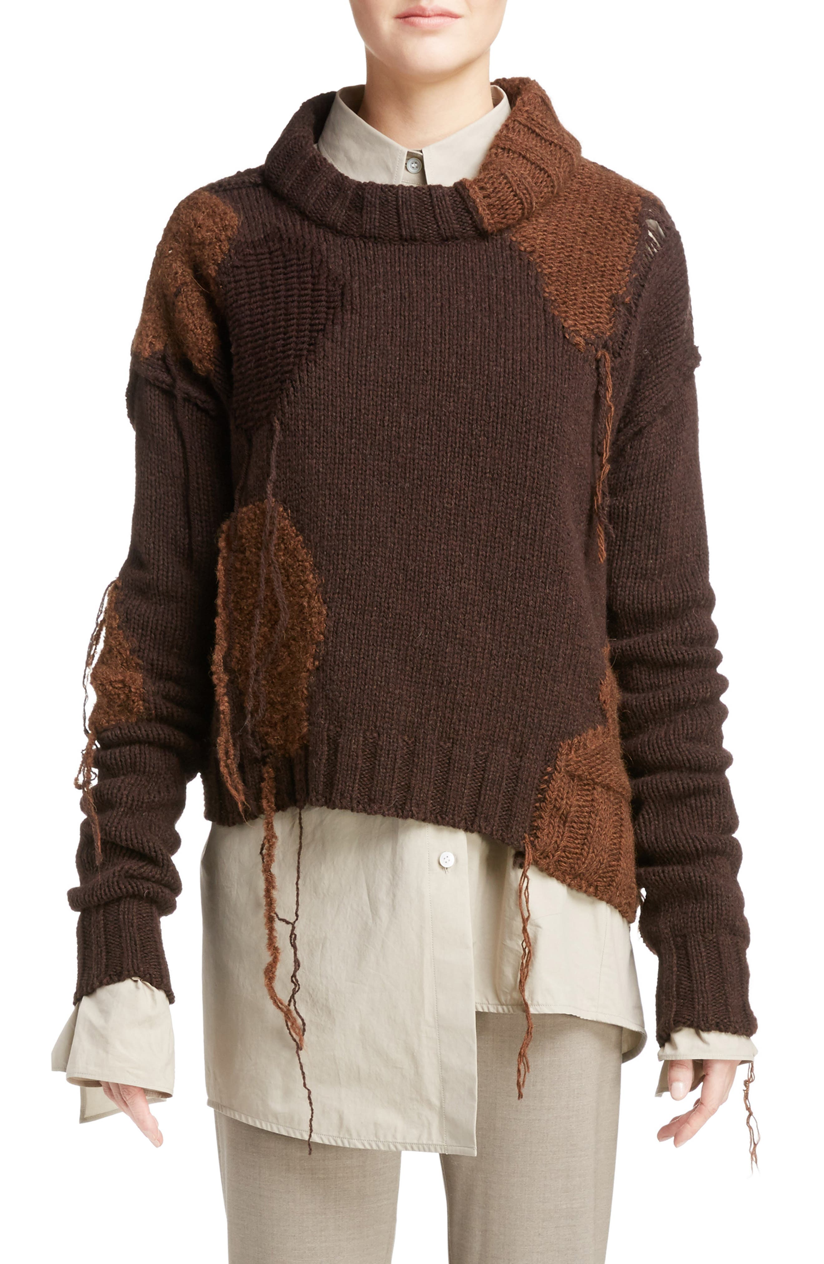Ovira Distressed Patchwork Sweater,                         Main,                         color, Brown Combo