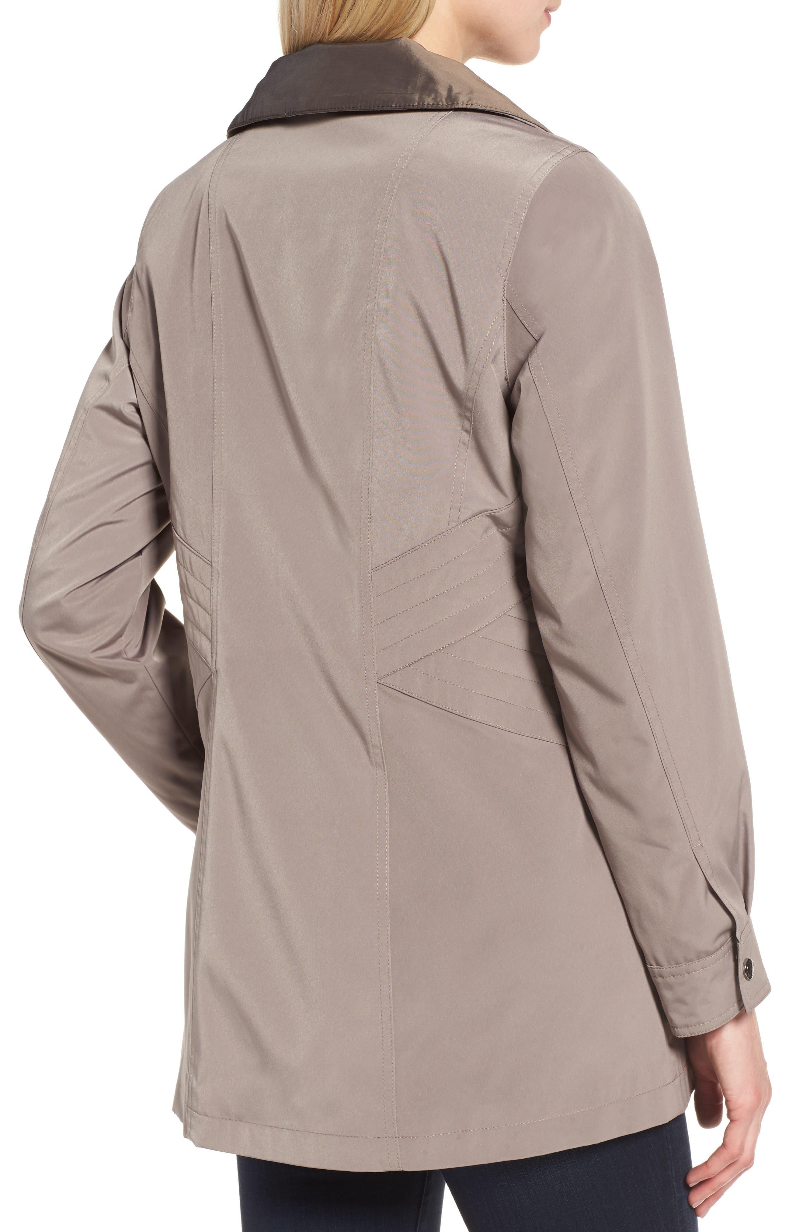 Alternate Image 4  - Gallery Two-Tone Long Silk Look Raincoat (Regular & Petite)