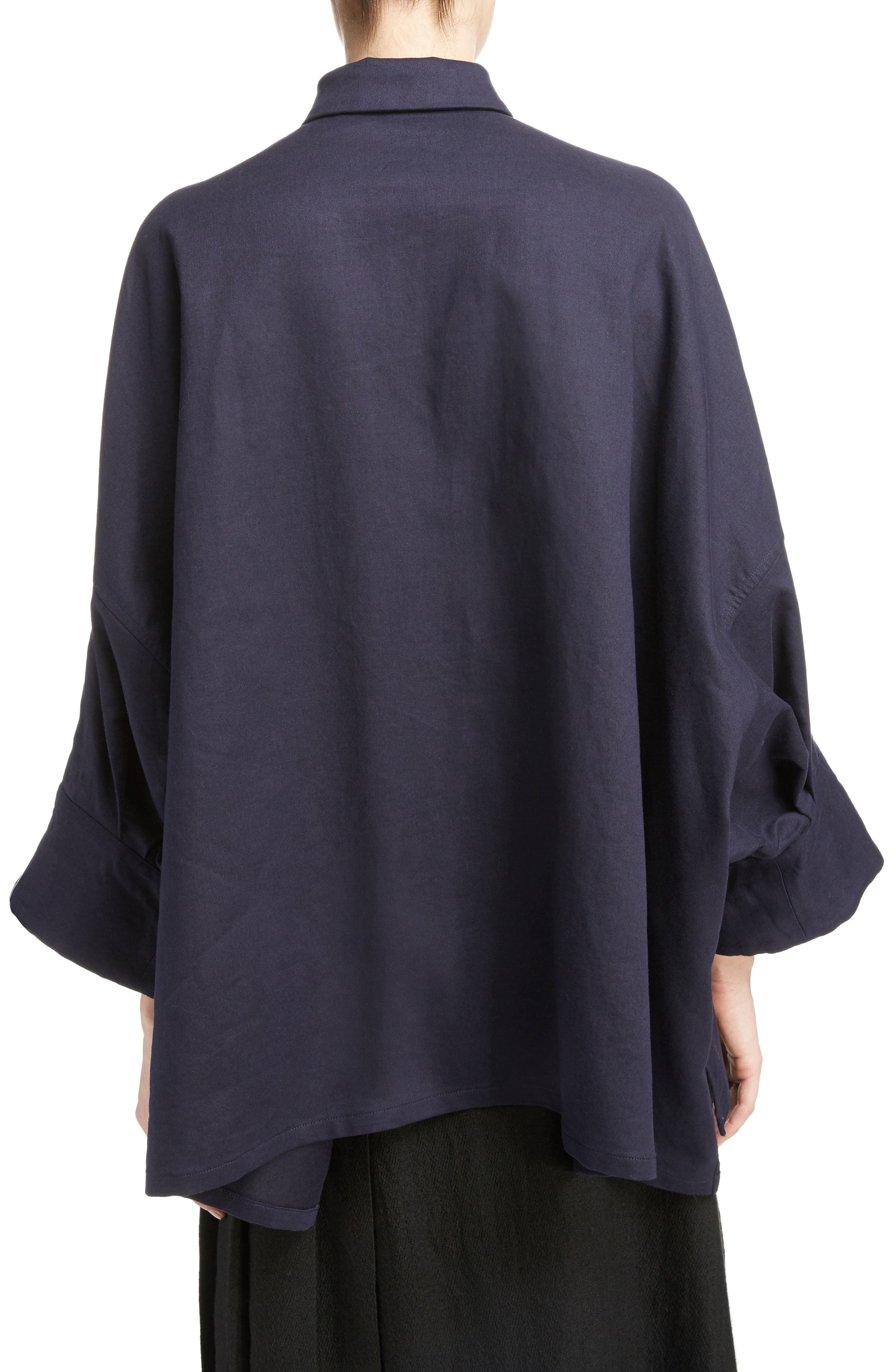 Fly Front Oversize Blouse,                             Alternate thumbnail 2, color,                             Navy