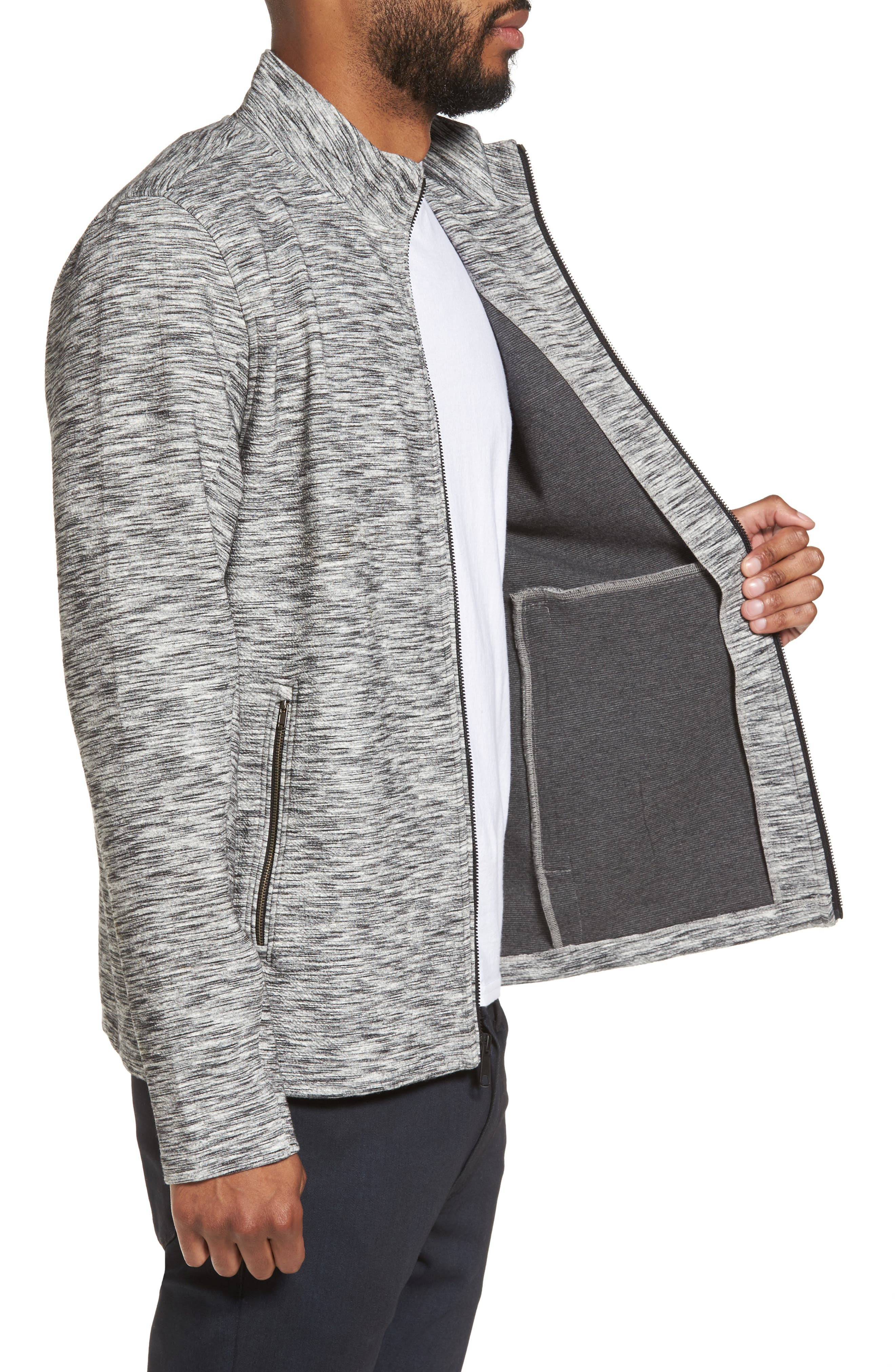 Knit Bomber Jacket,                             Alternate thumbnail 3, color,                             Grey Lunar Spacedye