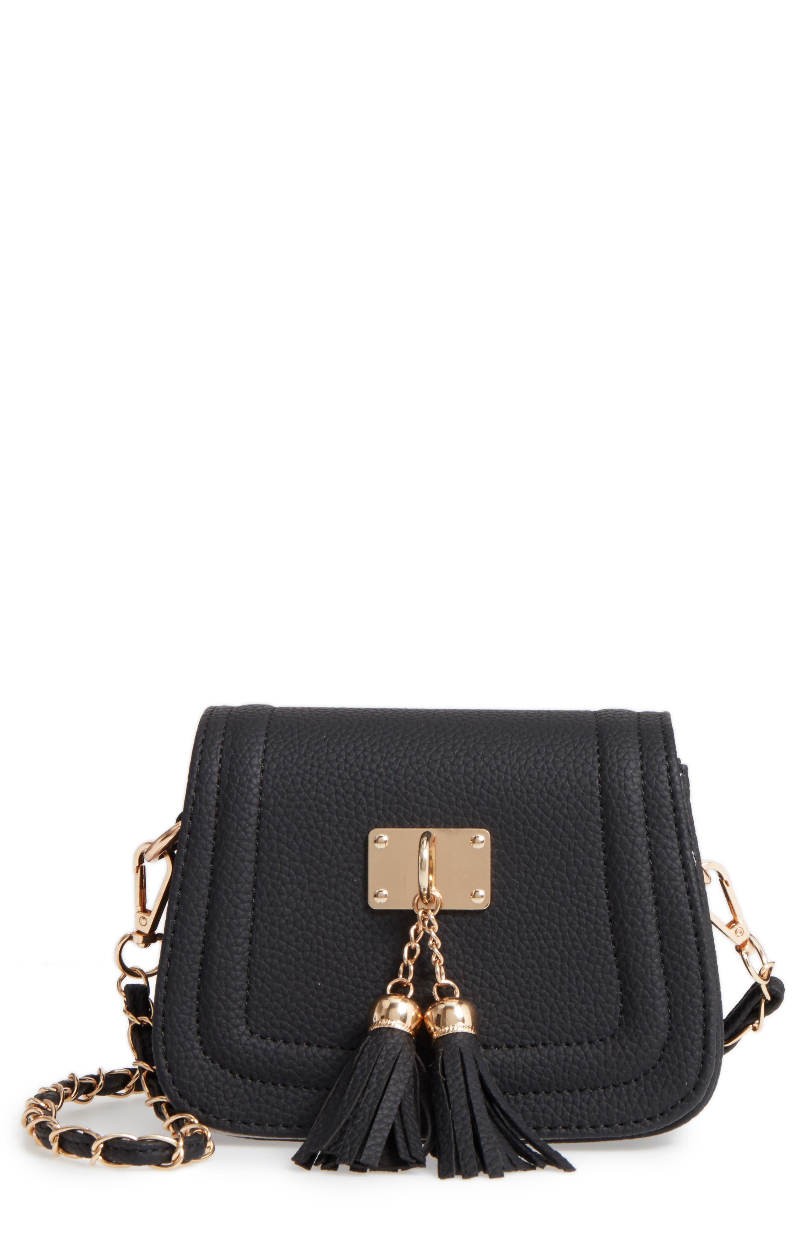 POPATU Double Tassel Faux Leather Shoulder Bag
