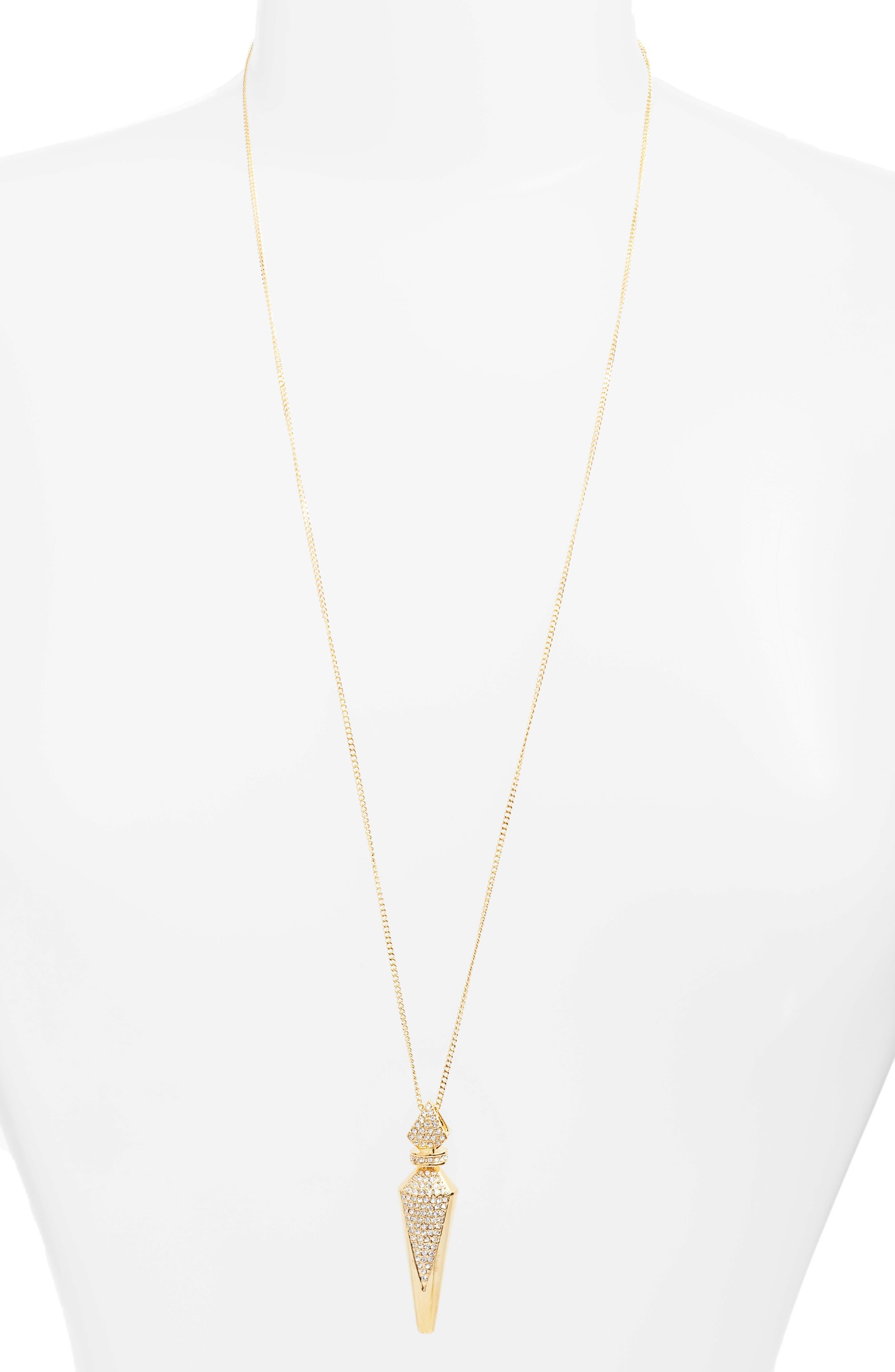 Pavé Crystal Pendant Necklace,                             Main thumbnail 1, color,                             Gold/ Crystal