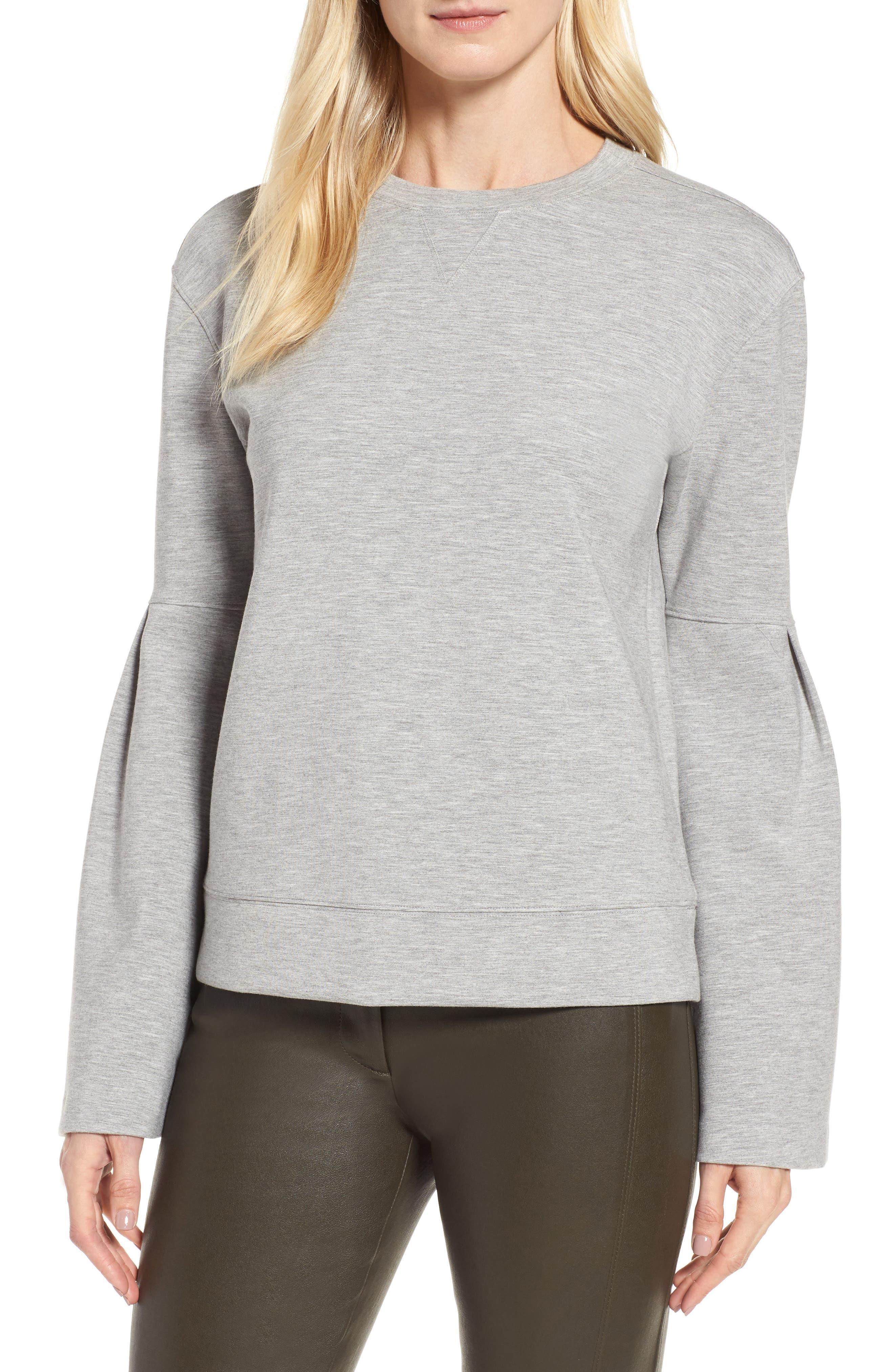 Bell Sleeve Sweatshirt,                         Main,                         color, Grey Clay Heather