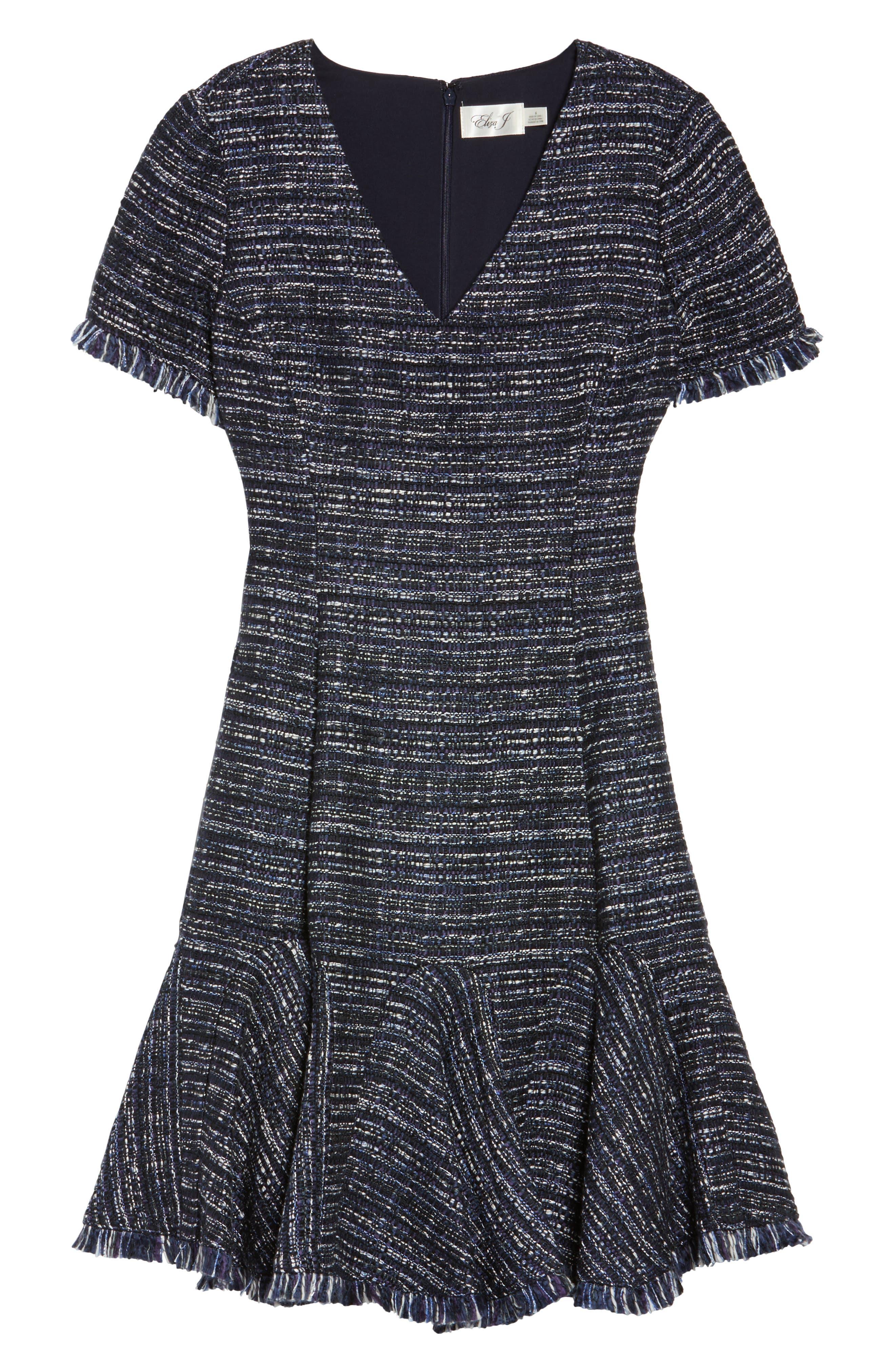 Short Sleeve Fit & Flare Dress,                             Alternate thumbnail 6, color,                             Navy