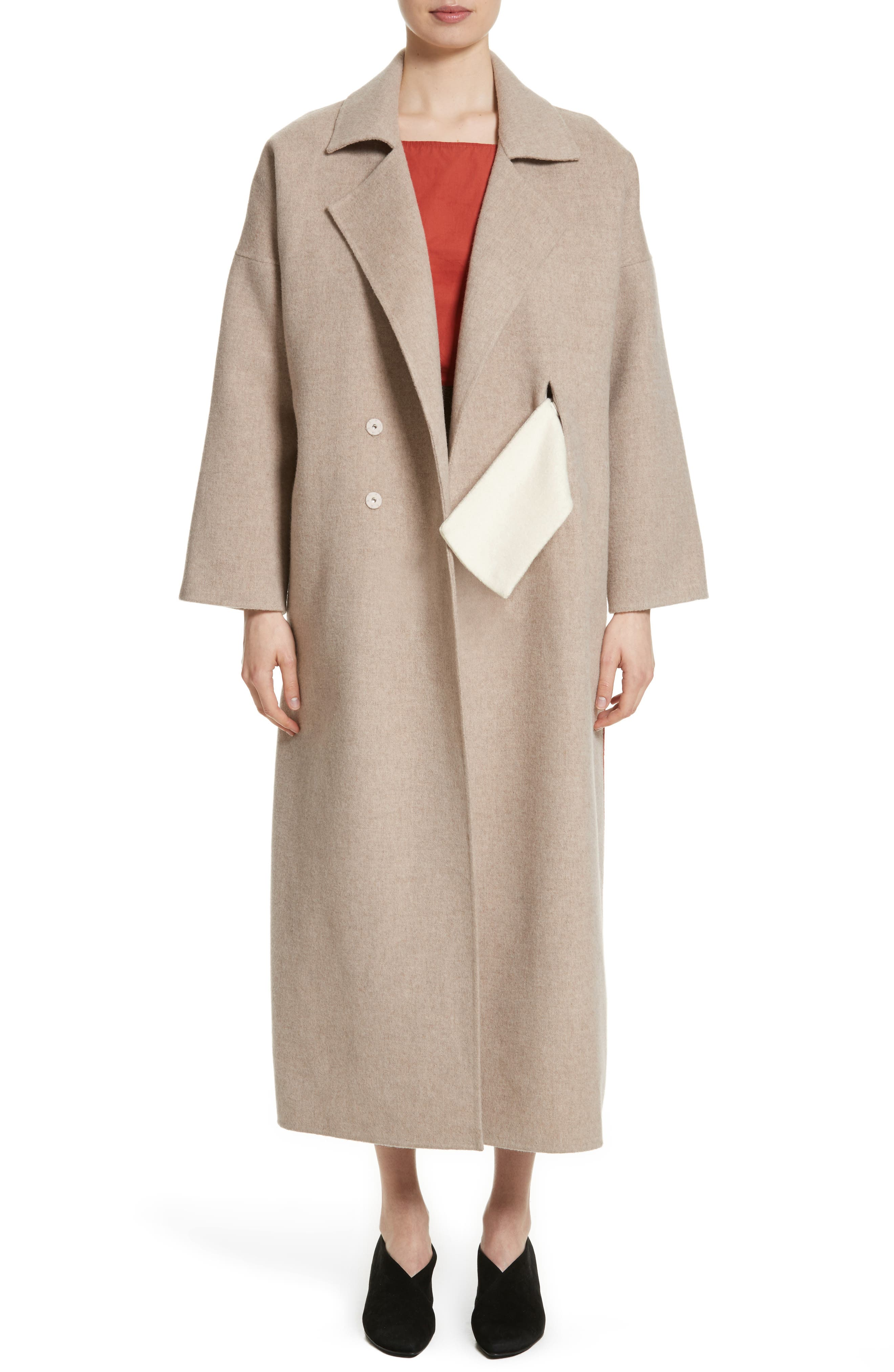 Kate Oversize Belted Coat,                         Main,                         color, Oat And Brick