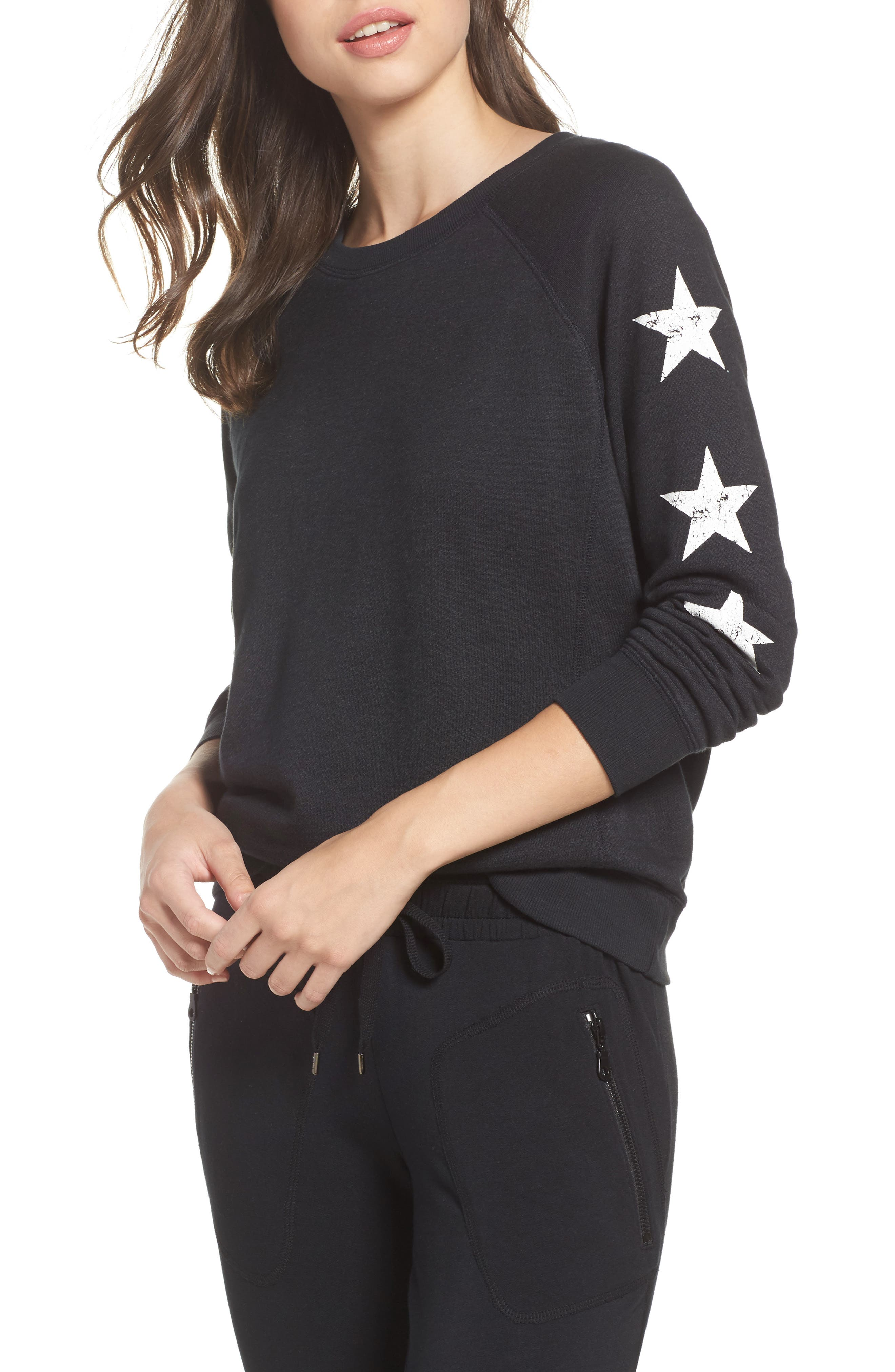 Star Raglan Pullover,                         Main,                         color, Black