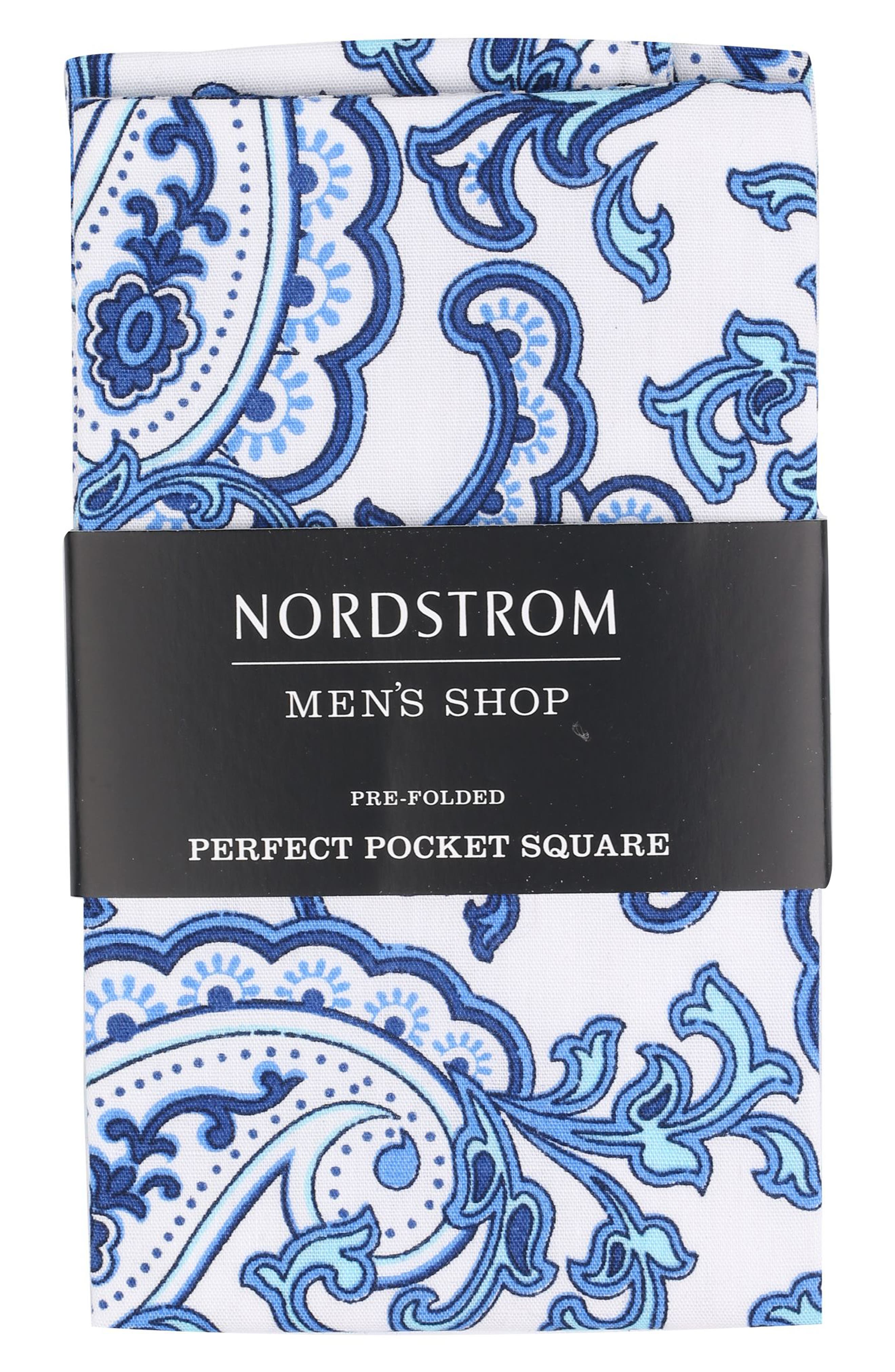The Perfect Pre-Folded Pocket Square,                         Main,                         color, Blue Retro Paisley