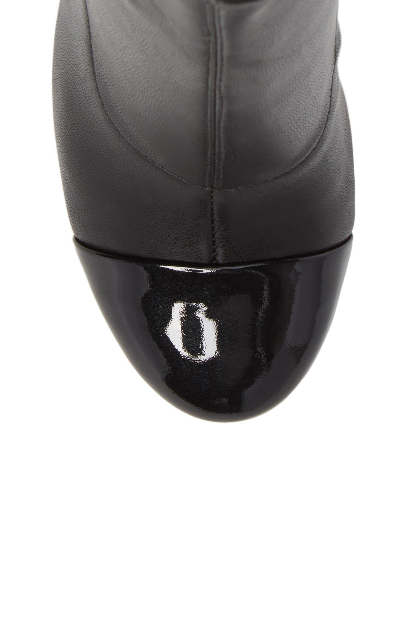 Prisa Cap Toe Bootie,                             Alternate thumbnail 5, color,                             Black Faux Leather