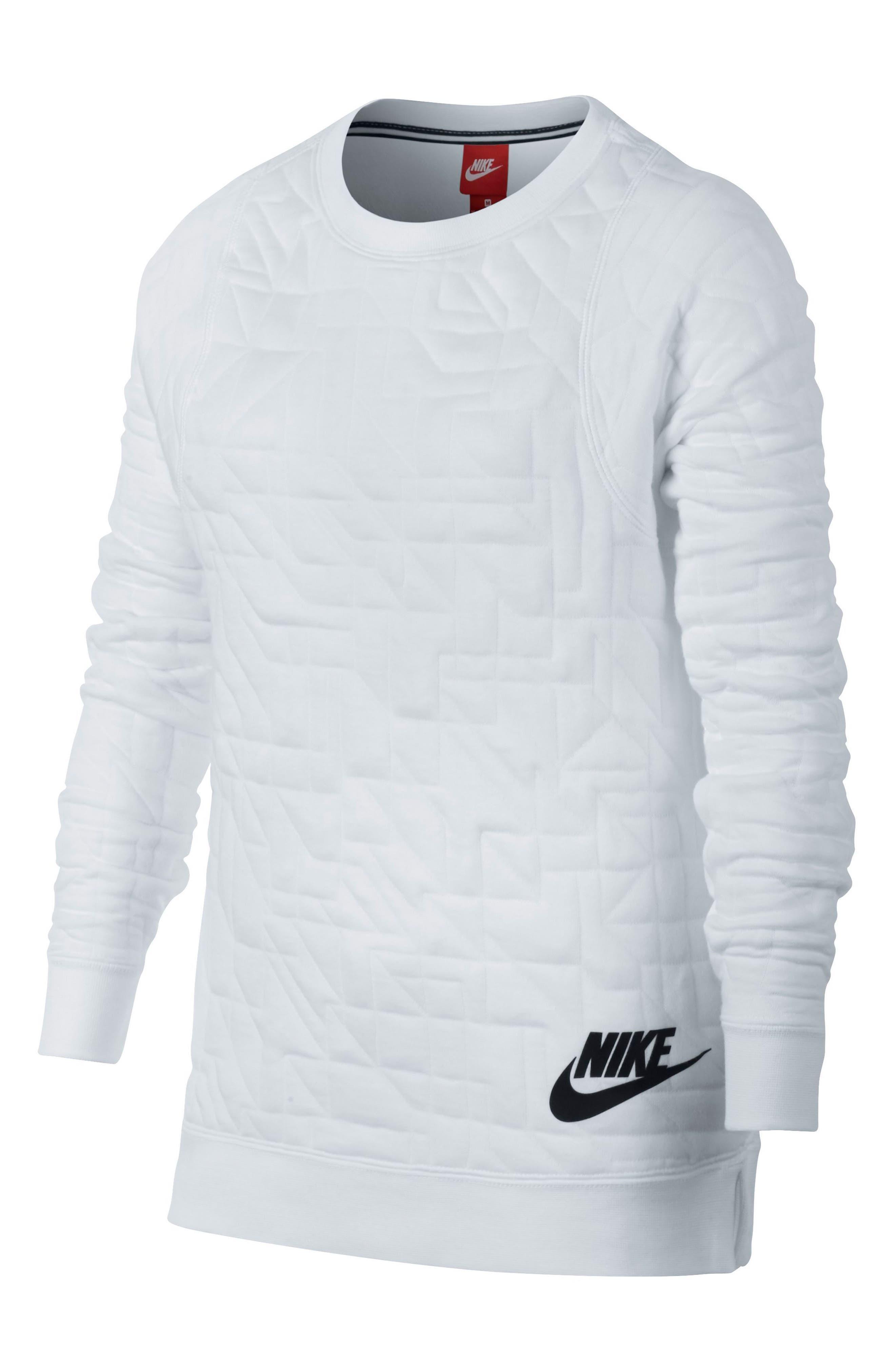 Modern Matelassé Sweatshirt,                         Main,                         color, White/ Black