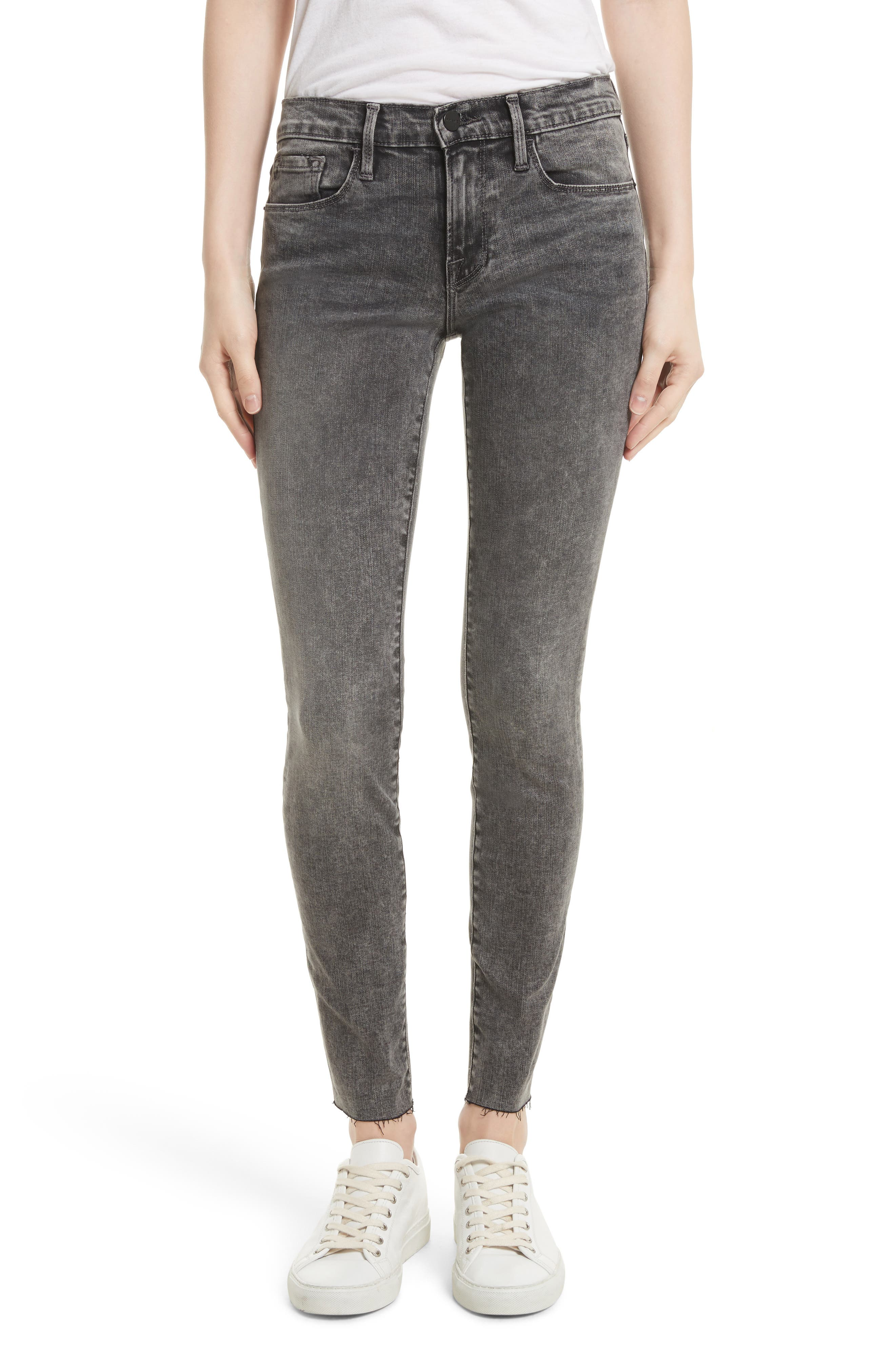Alternate Image 1 Selected - FRAME Le Skinny de Jeanne Raw Edge Skinny Jeans (Bennington)