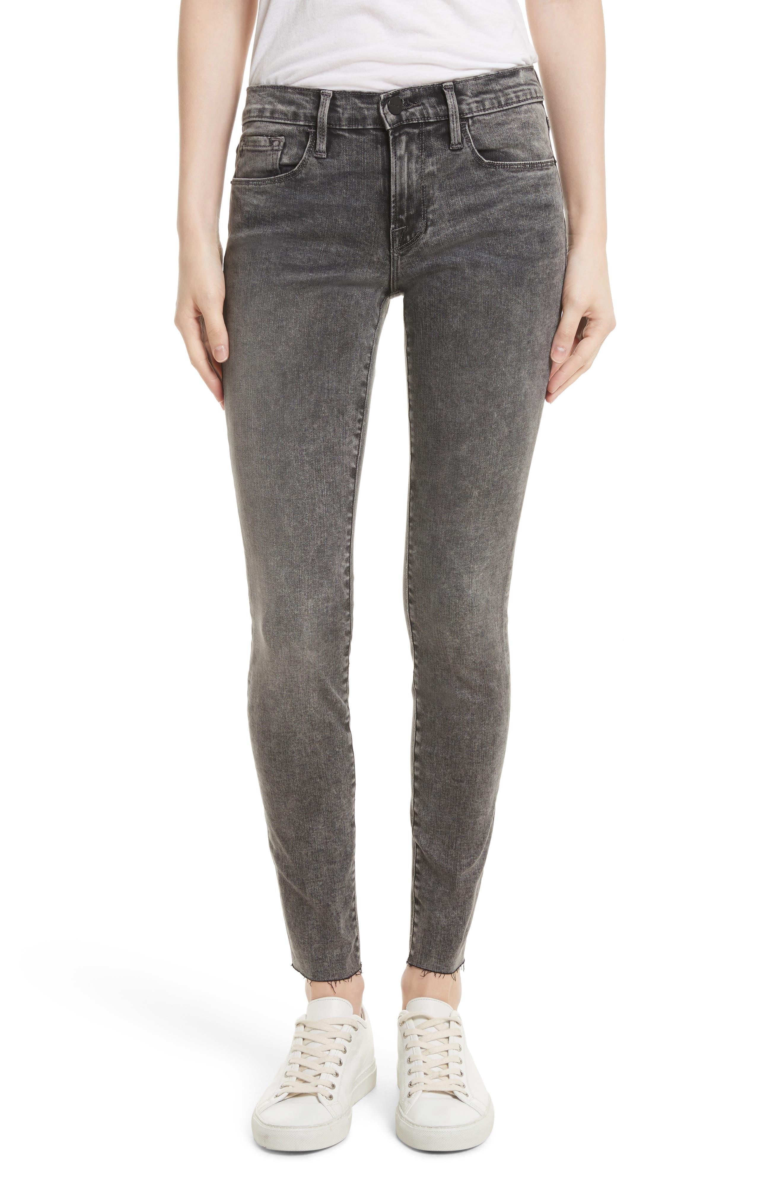 FRAME Le Skinny de Jeanne Raw Edge Skinny Jeans (Bennington)
