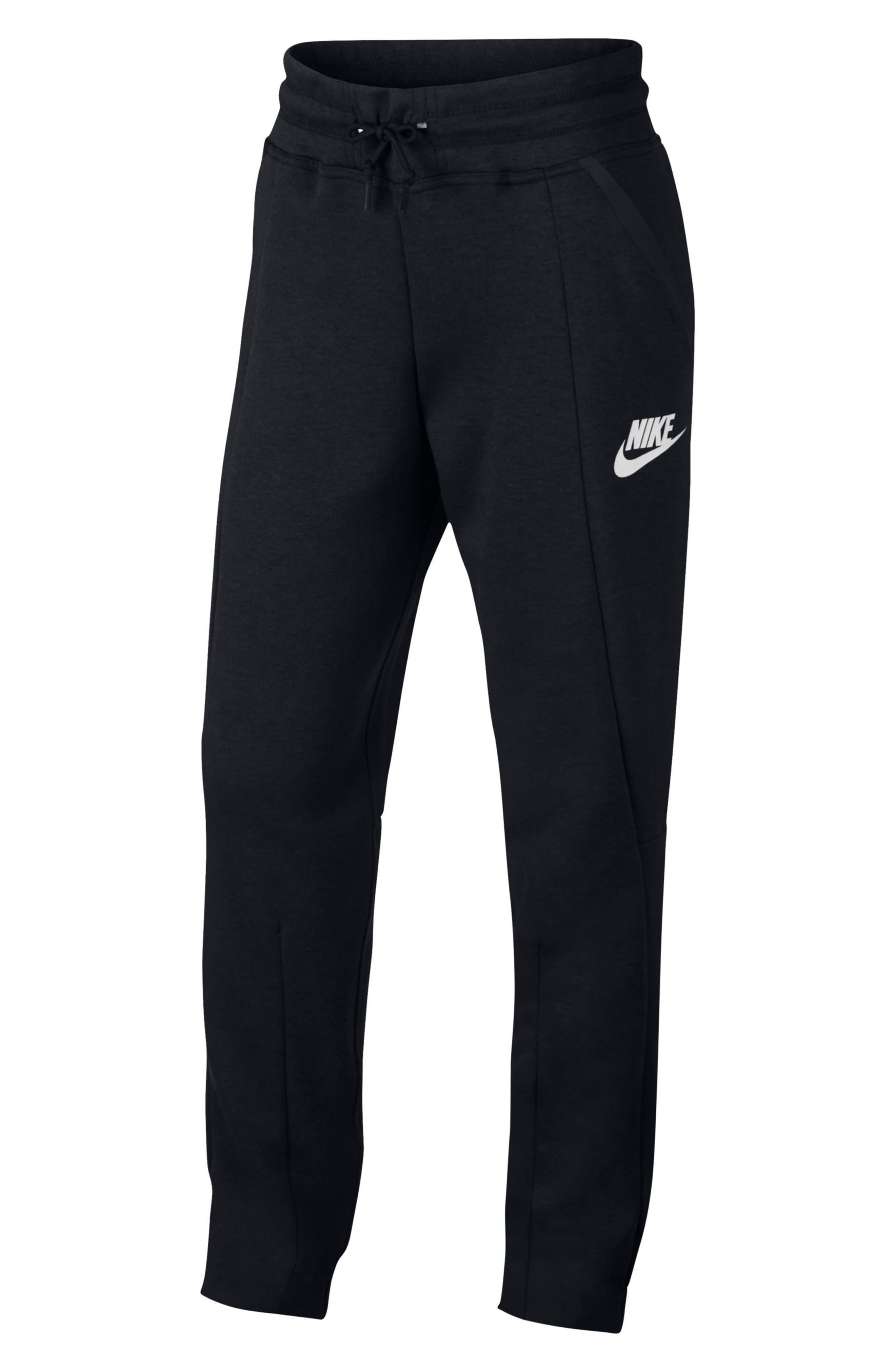 Tech Fleece Pants,                         Main,                         color, Black/ White