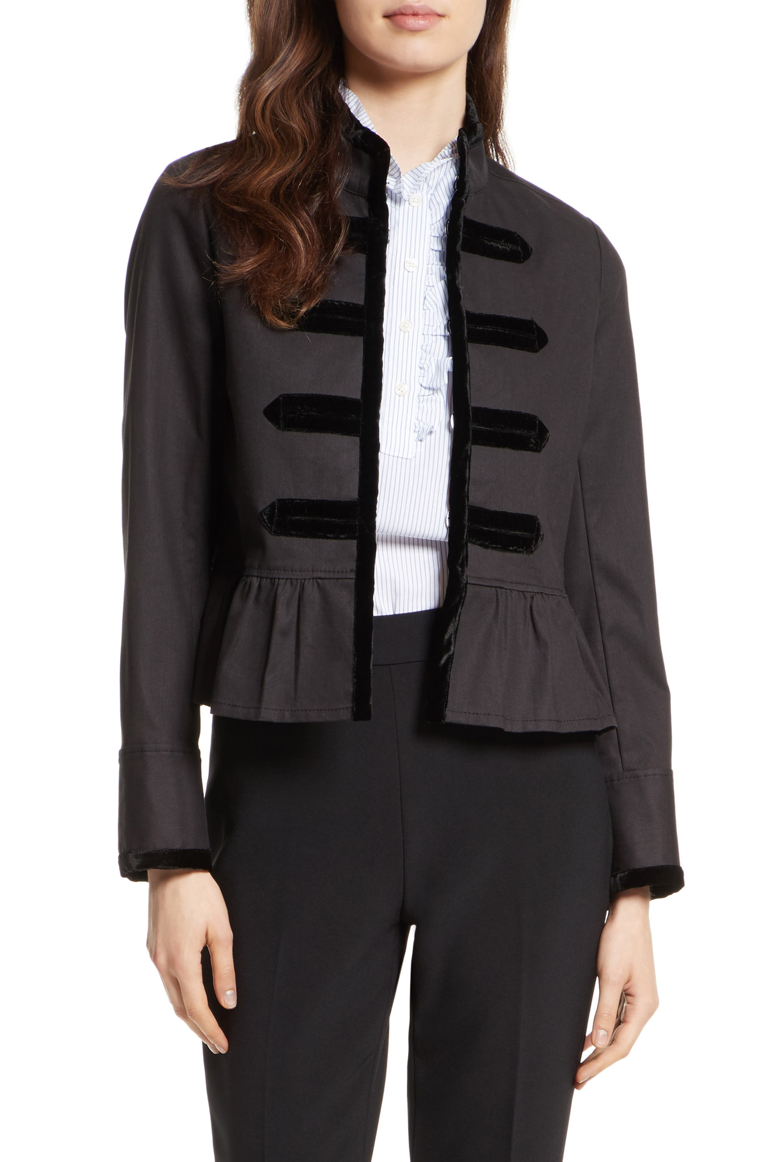 Main Image - kate spade new york velvet trim military jacket