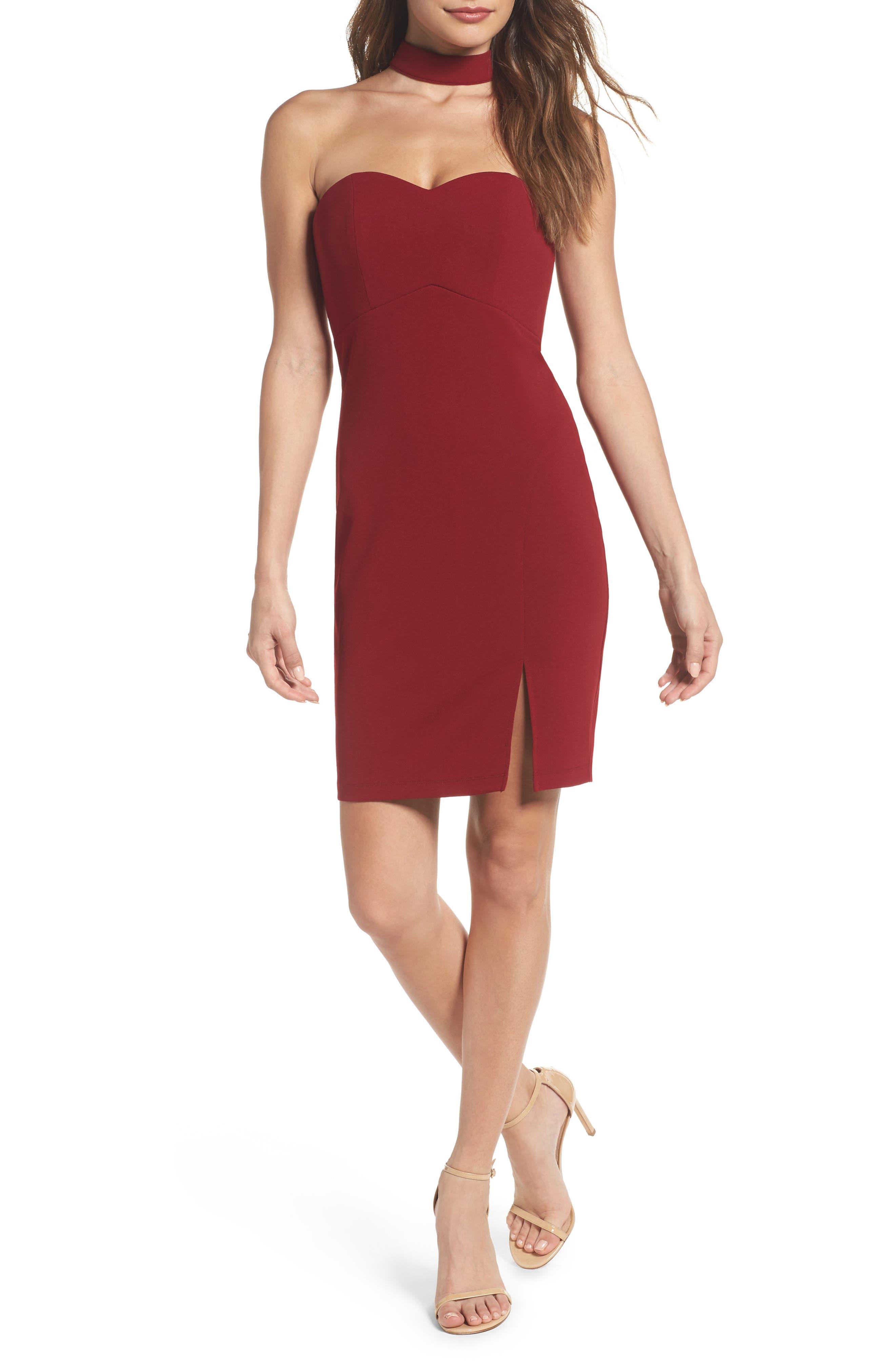 Choker Neck Body-Con Dress,                         Main,                         color, Merlot