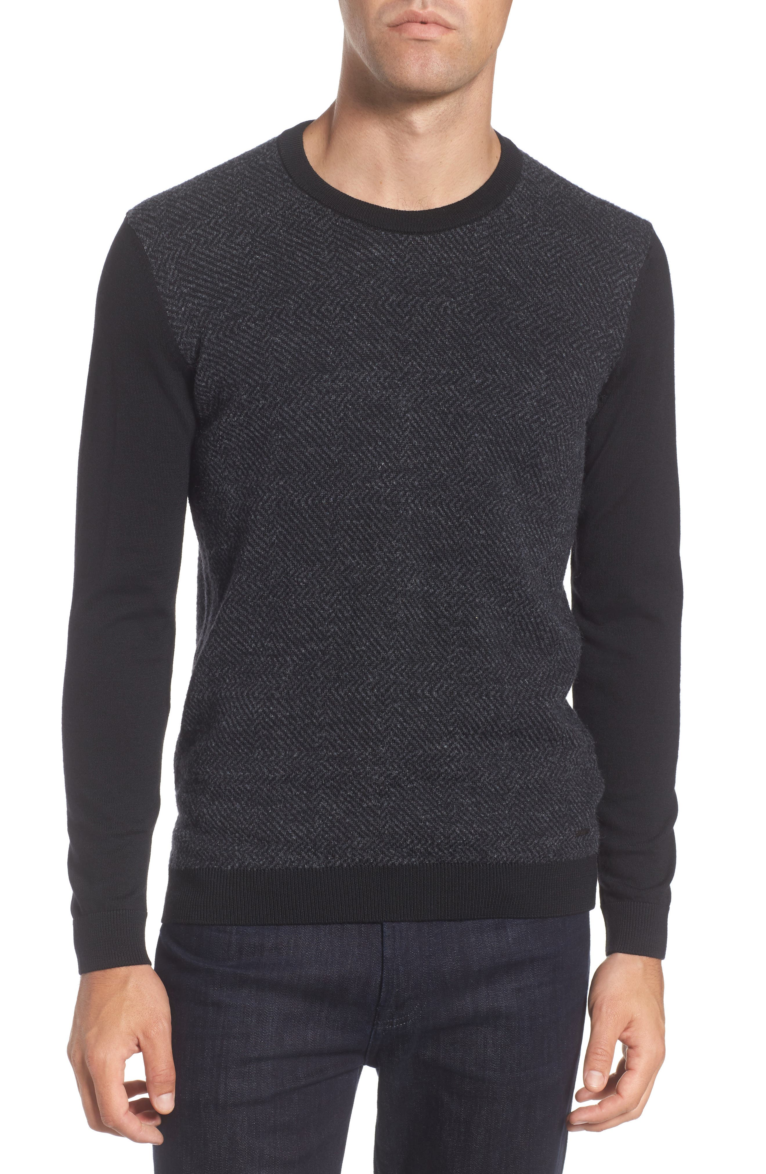 Notto Wool Blend Sweater,                             Main thumbnail 1, color,                             Black