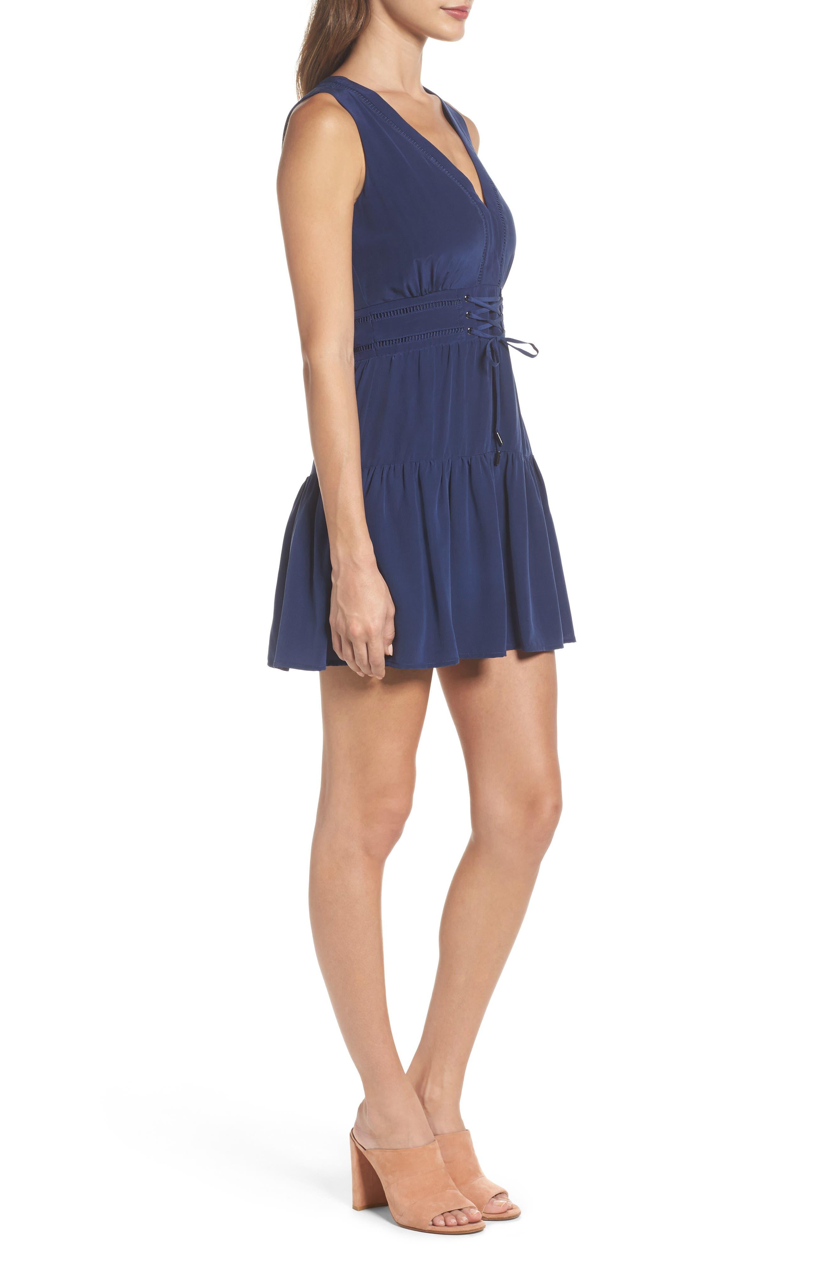 Bilson Fit & Flare Silk Dress,                             Alternate thumbnail 4, color,                             Marine