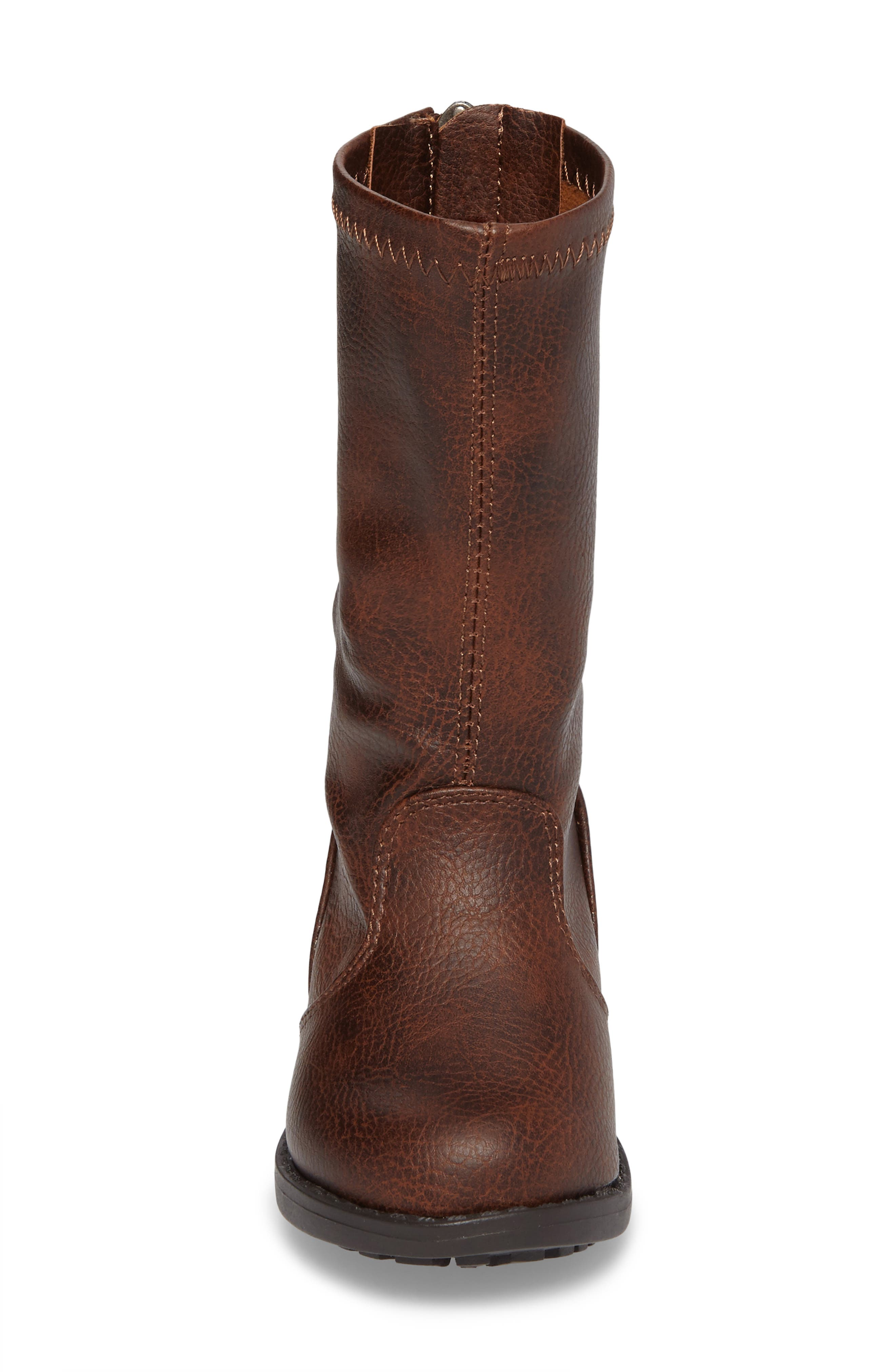 Autumn Stretch Boot,                             Alternate thumbnail 4, color,                             Distressed Brown Faux Leather