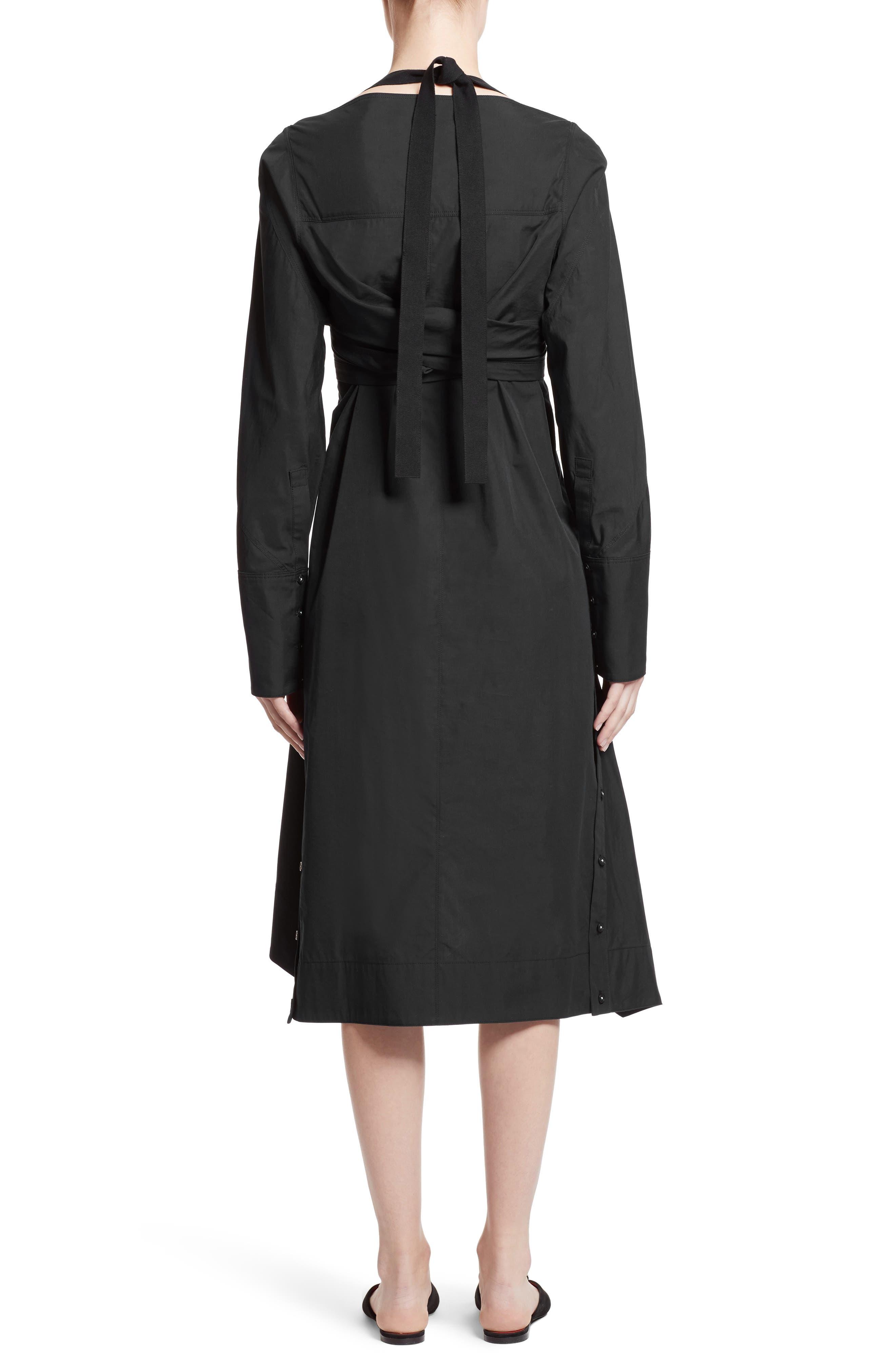 Cotton Poplin Wrap Dress,                             Alternate thumbnail 2, color,                             Black