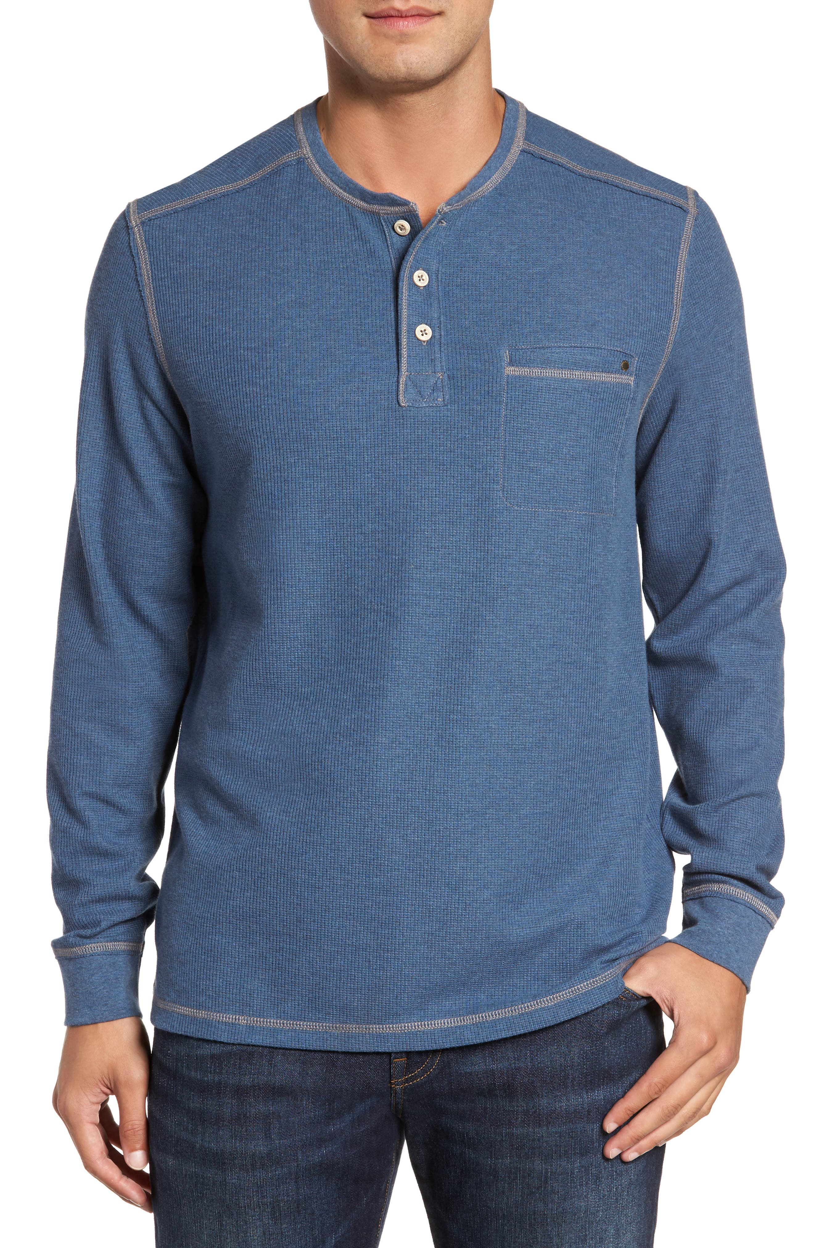 Island Thermal Henley,                             Main thumbnail 1, color,                             Cadet Heather