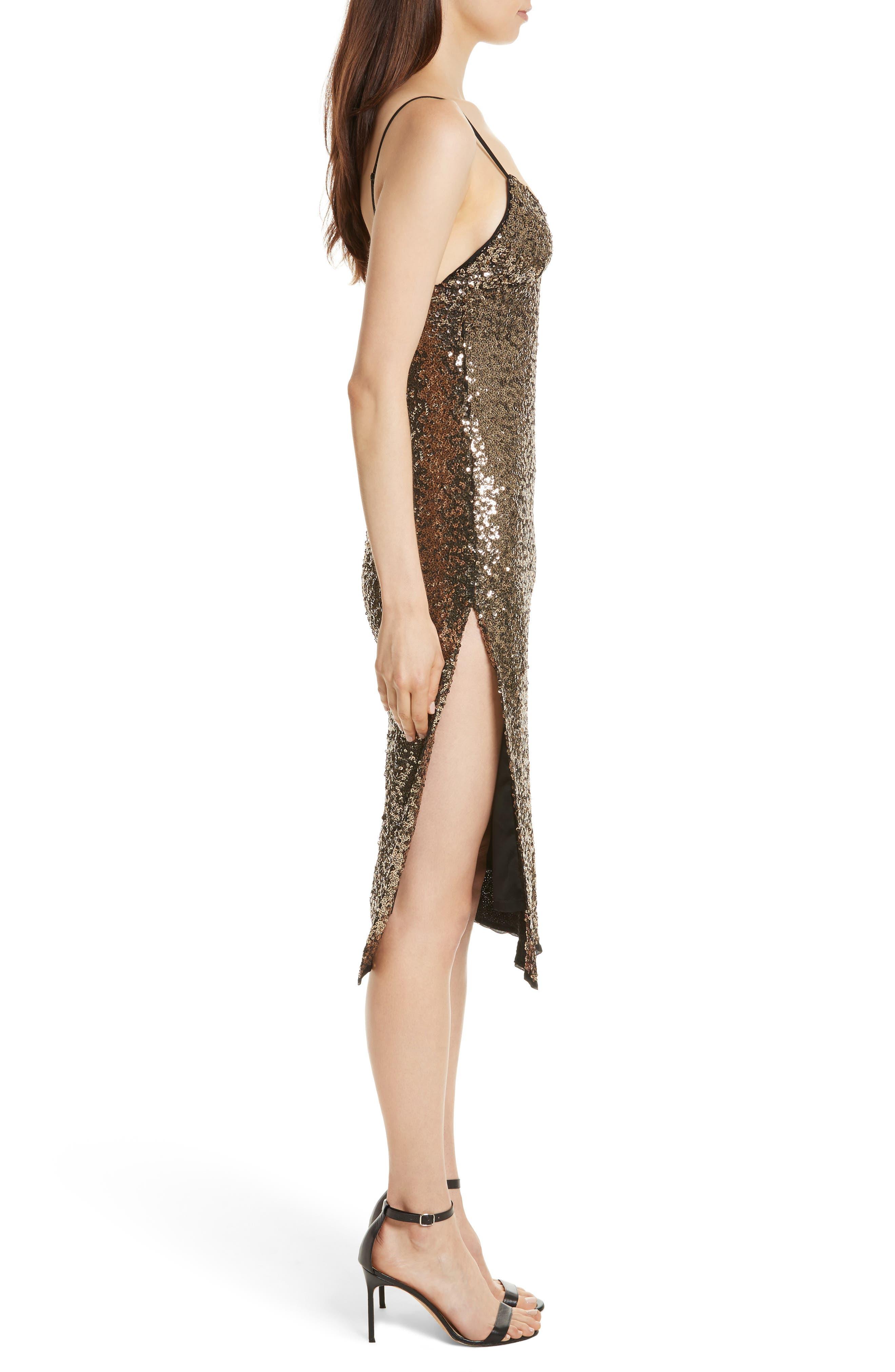 Alexis Sequin Camisole Dress,                             Alternate thumbnail 3, color,                             Antique Gold