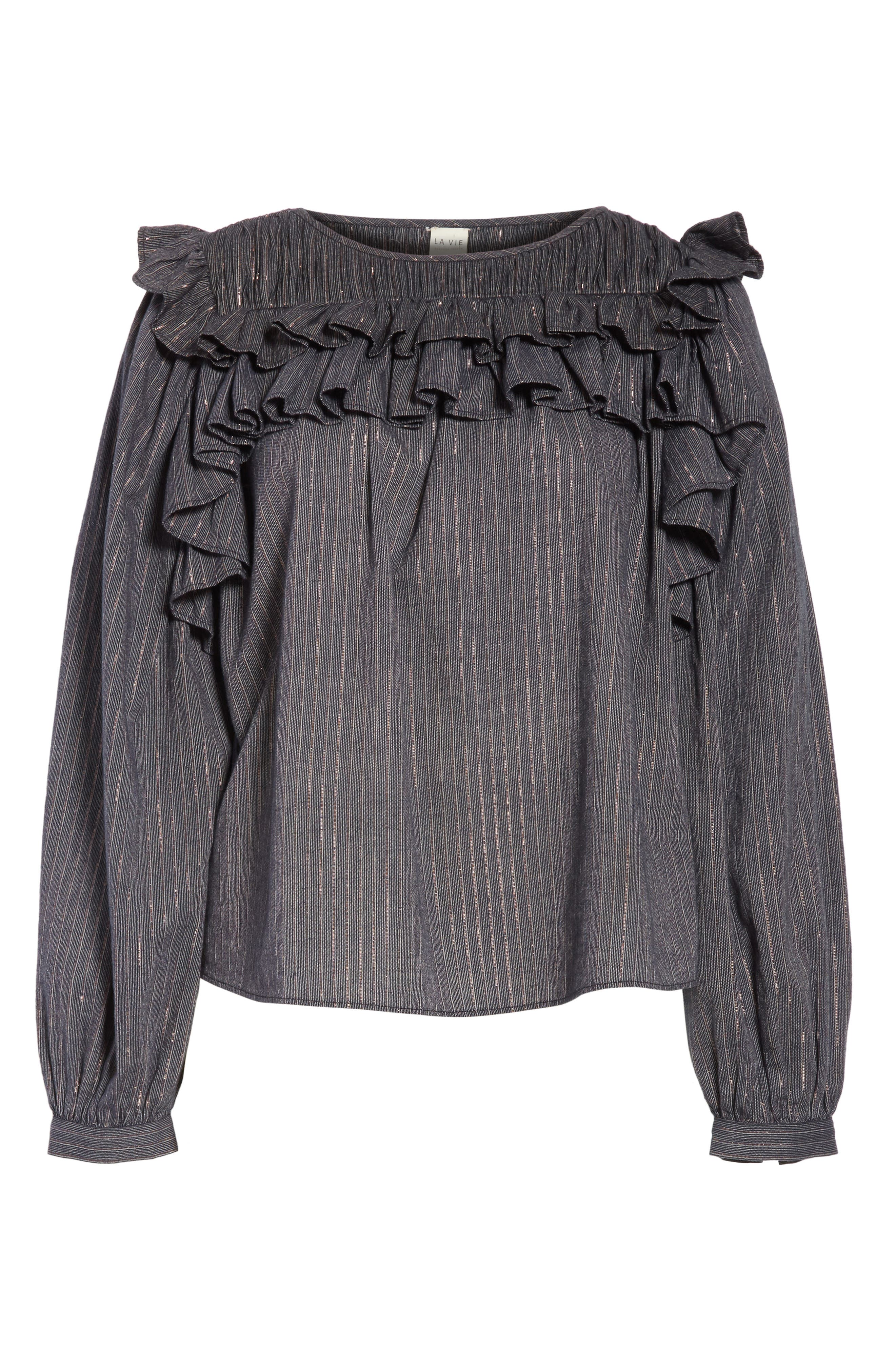 Ruffle Lurex<sup>®</sup> Stripe Blouse,                             Alternate thumbnail 6, color,                             Washed Black Combo