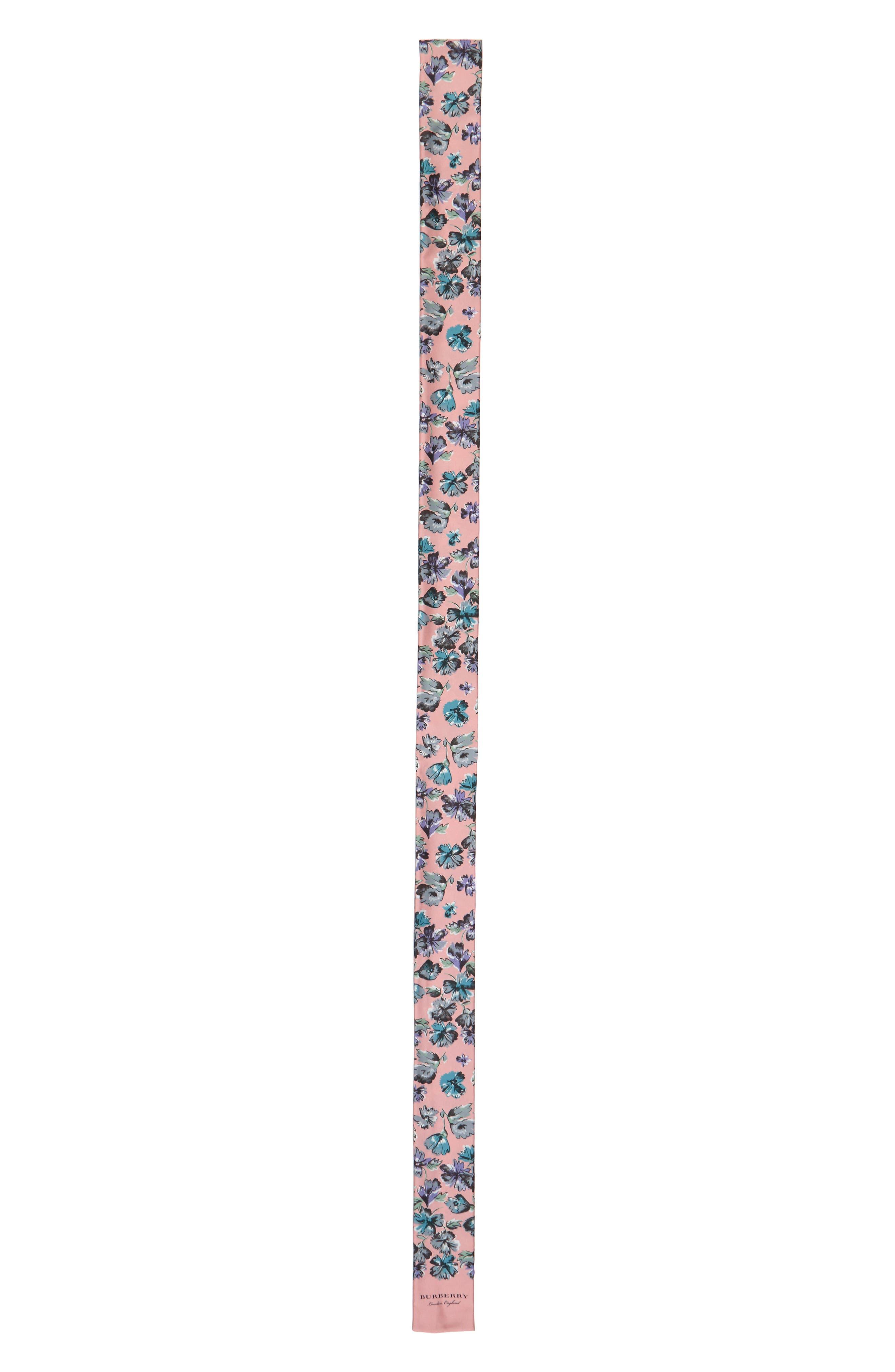 Scatter Floral Silk Skinny Scarf,                             Alternate thumbnail 2, color,                             Rose Pink
