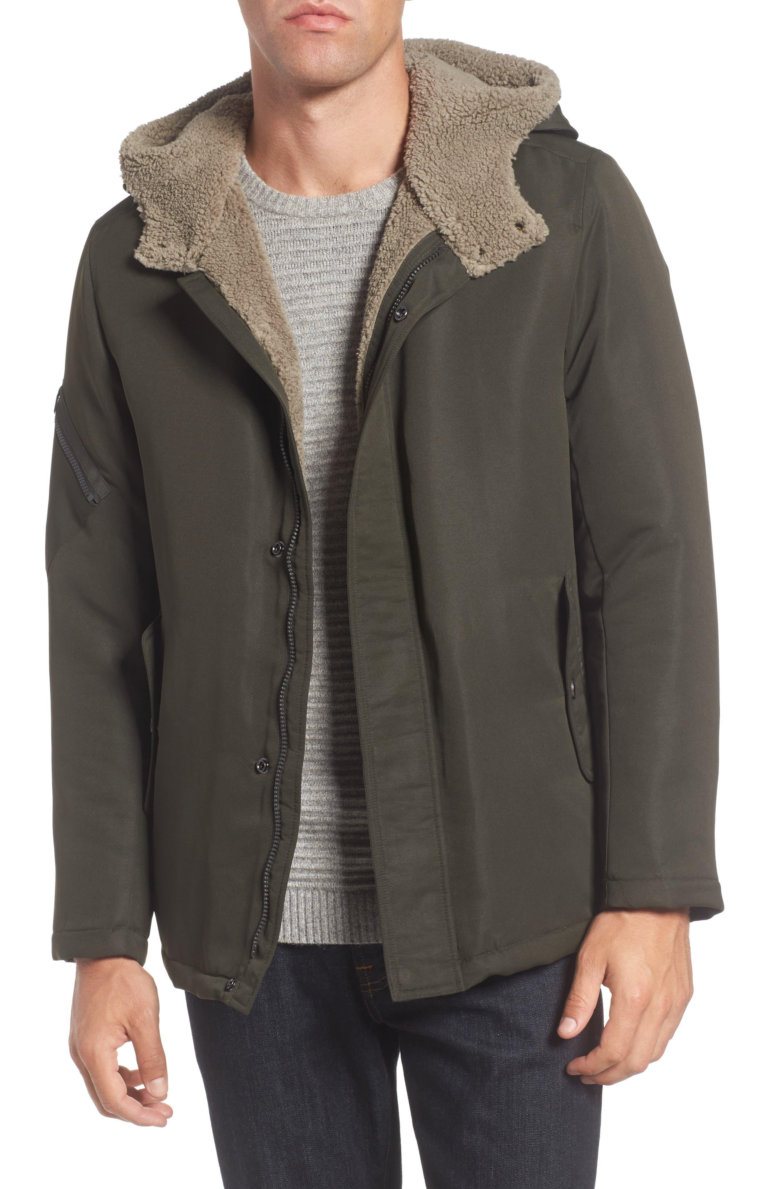 Hooded Jacket,                         Main,                         color, Olive