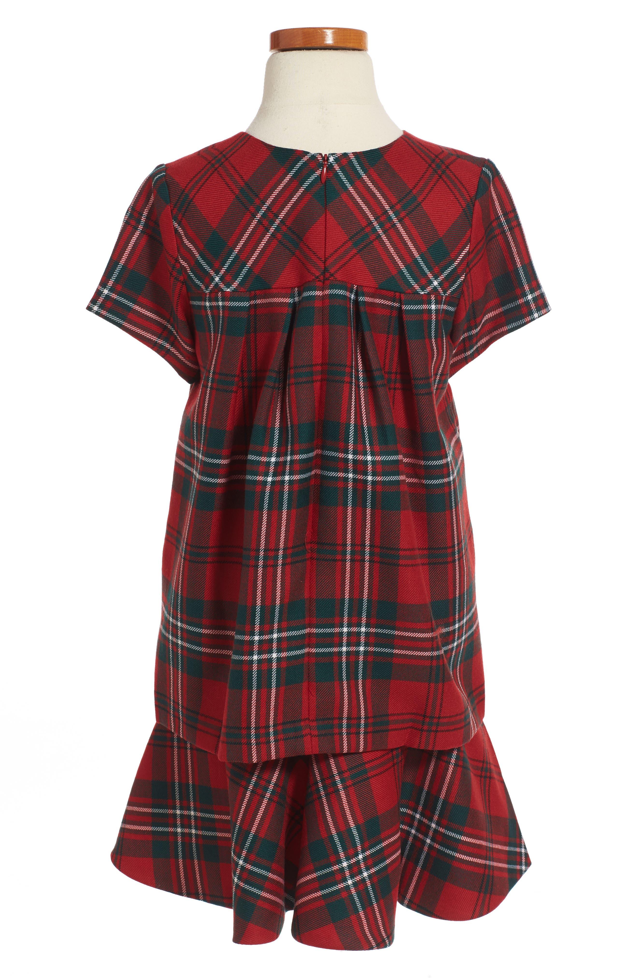 Plaid Wool Dress,                             Alternate thumbnail 2, color,                             Ruby