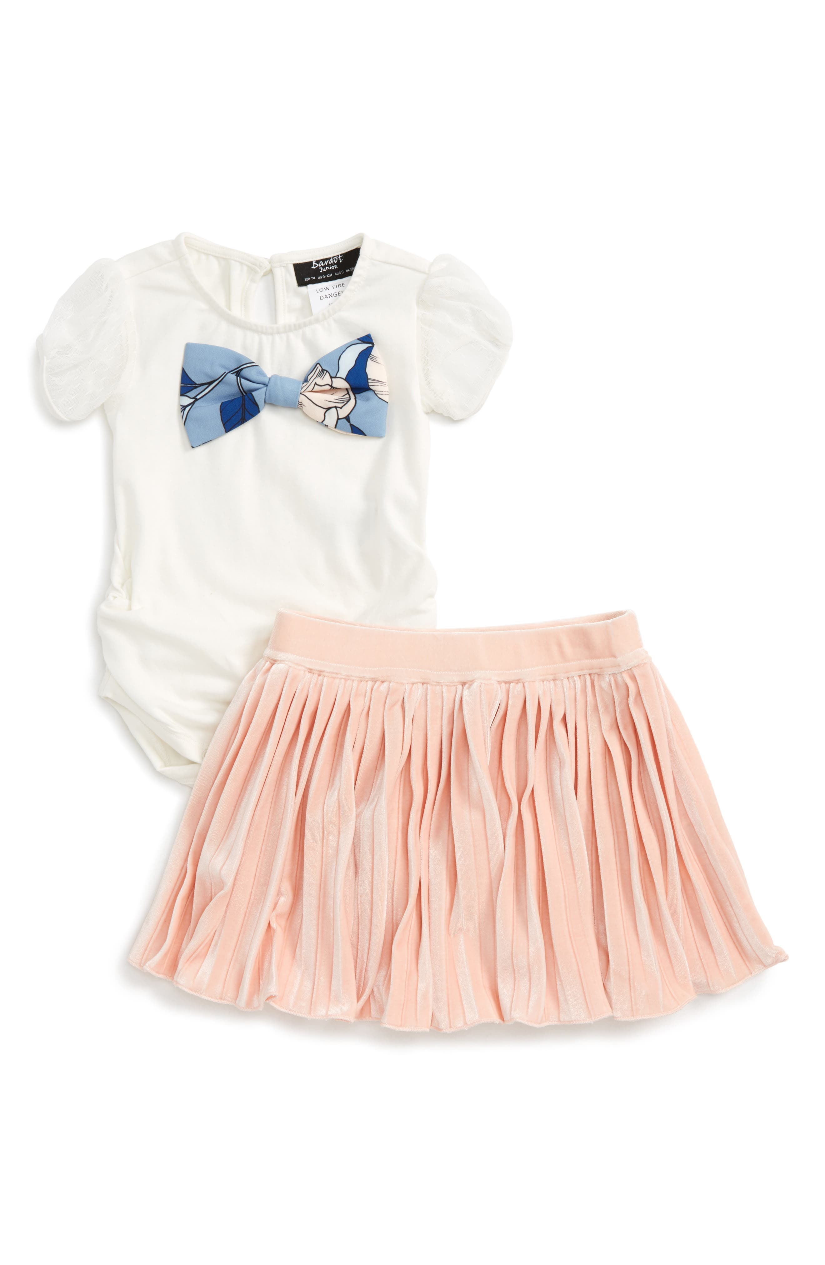 Bow Top & Pleated Skirt Set,                             Main thumbnail 1, color,                             Ivory/ Pale Pink