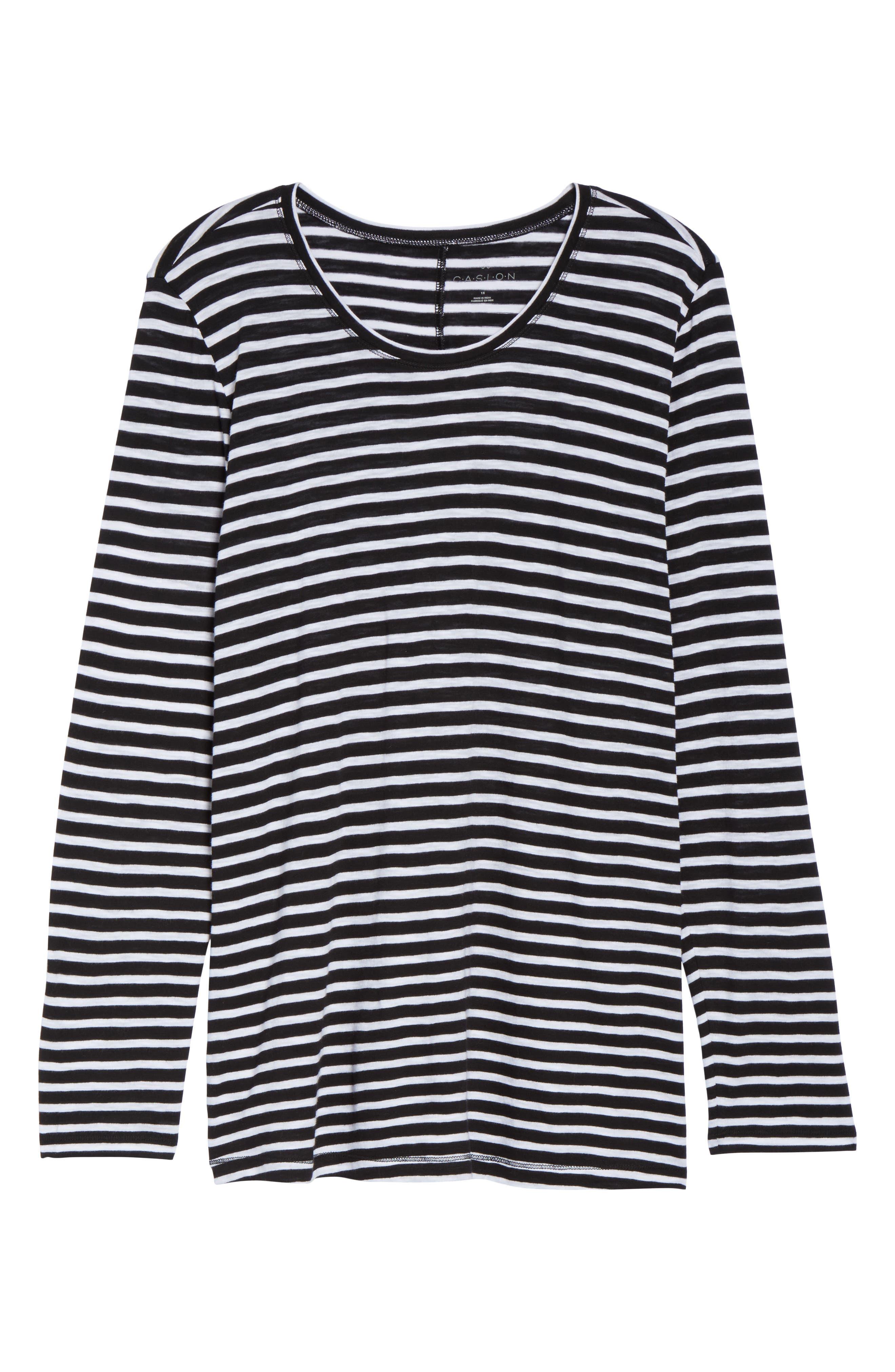 Long Sleeve Crewneck Tee,                             Alternate thumbnail 37, color,                             Black- White Maisie Stripe