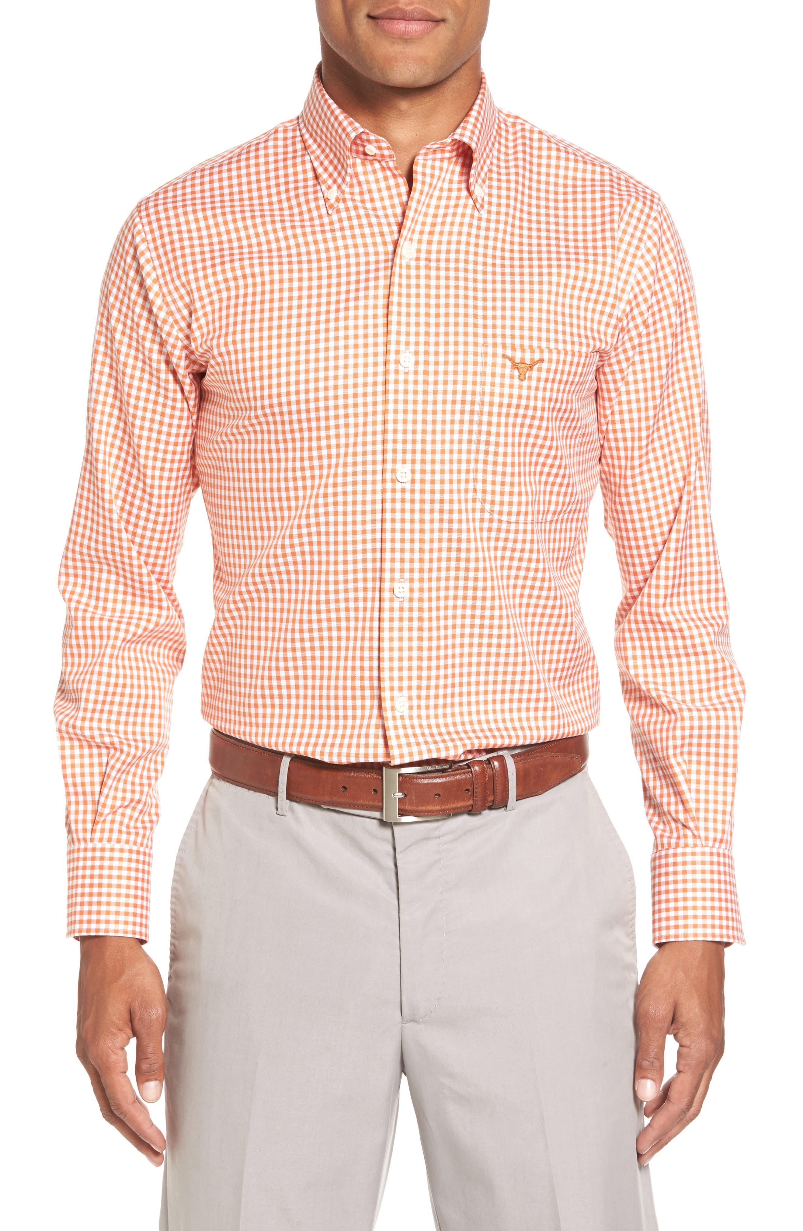 Texas Regular Fit Microcheck Sport Shirt,                         Main,                         color, Rust