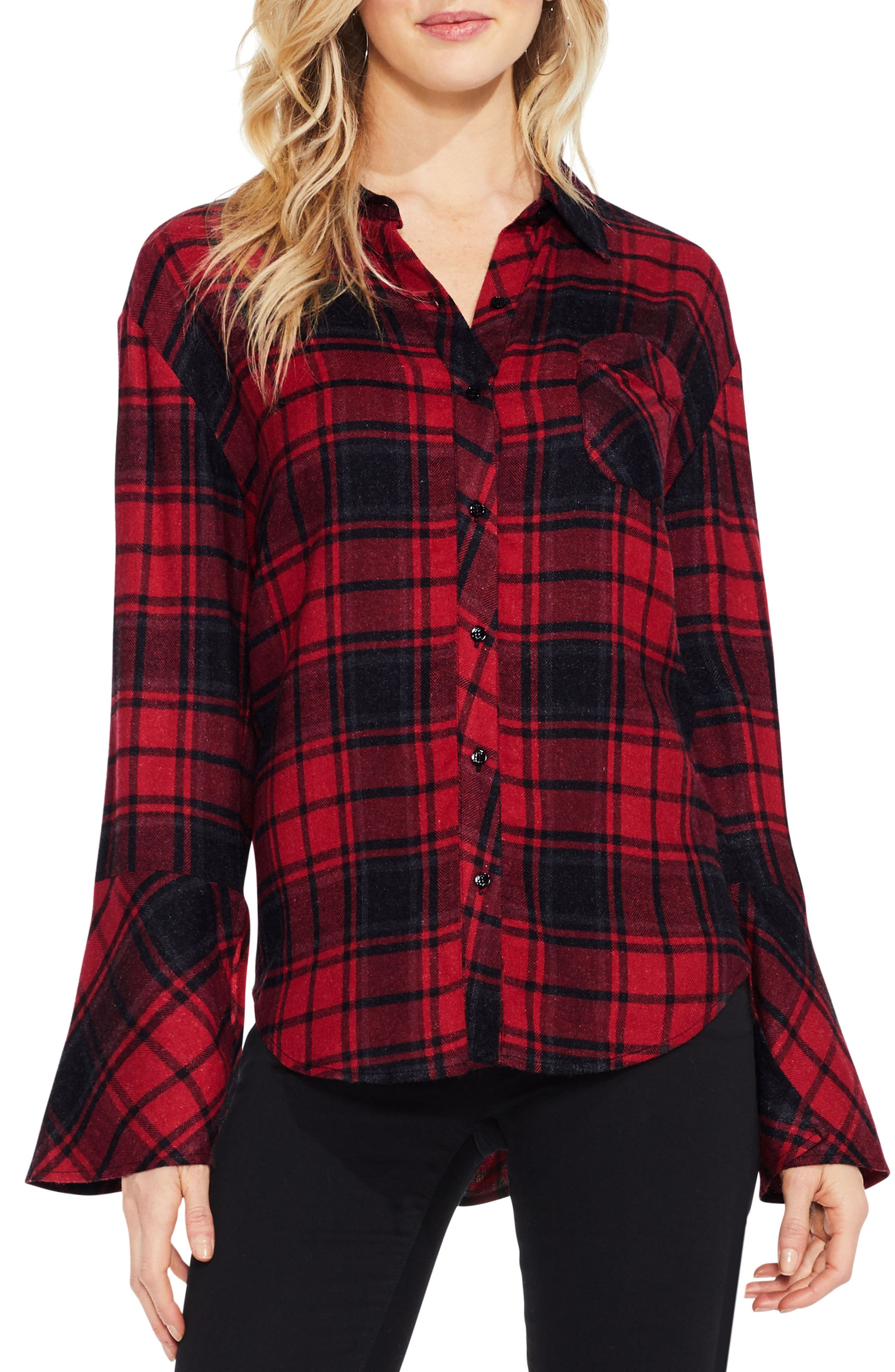 Stateside Bell Sleeve Shirt,                         Main,                         color, Russet Red