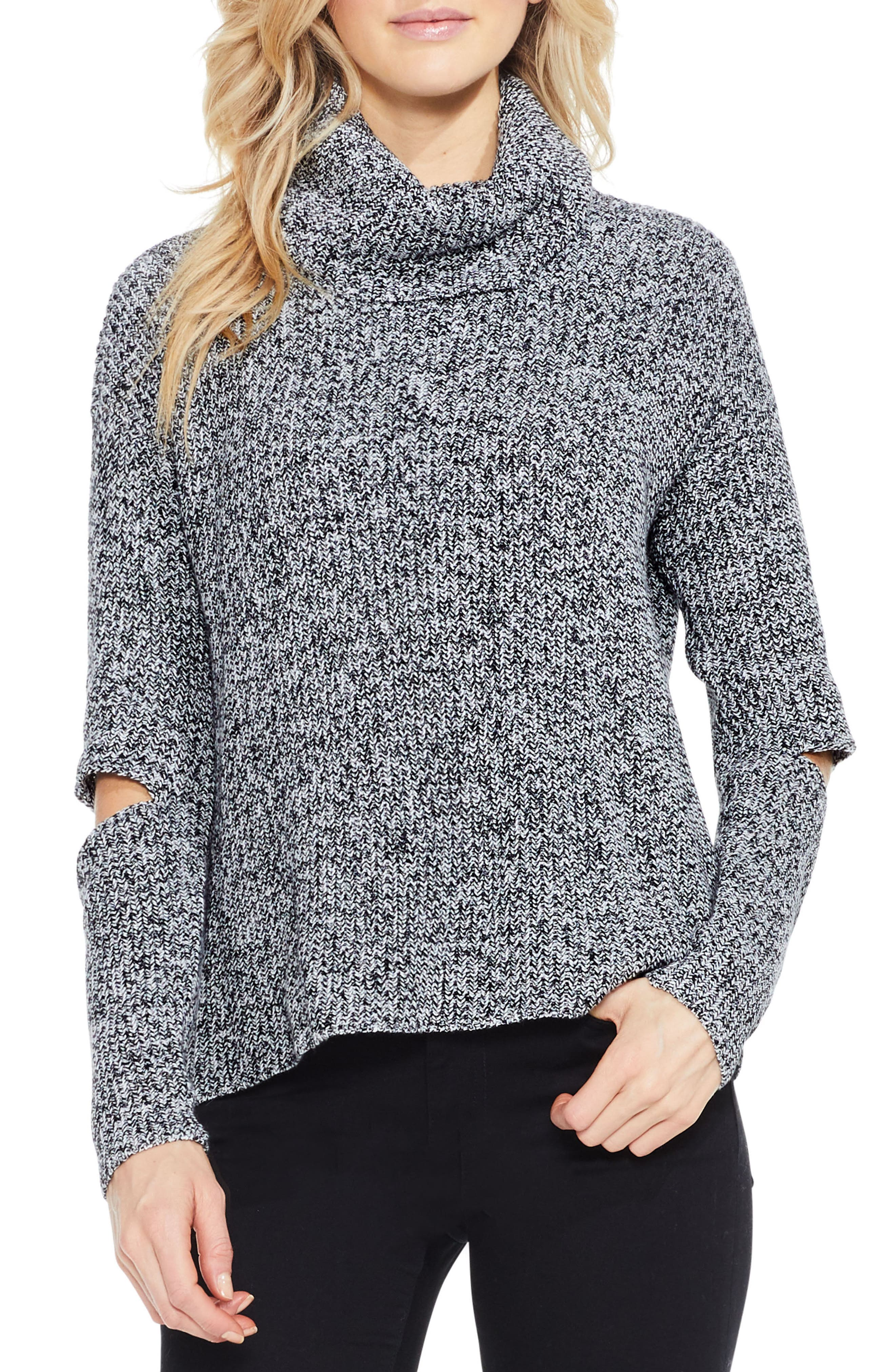 Two by Vince Camuto Cutout Sleeve Turtleneck Sweater