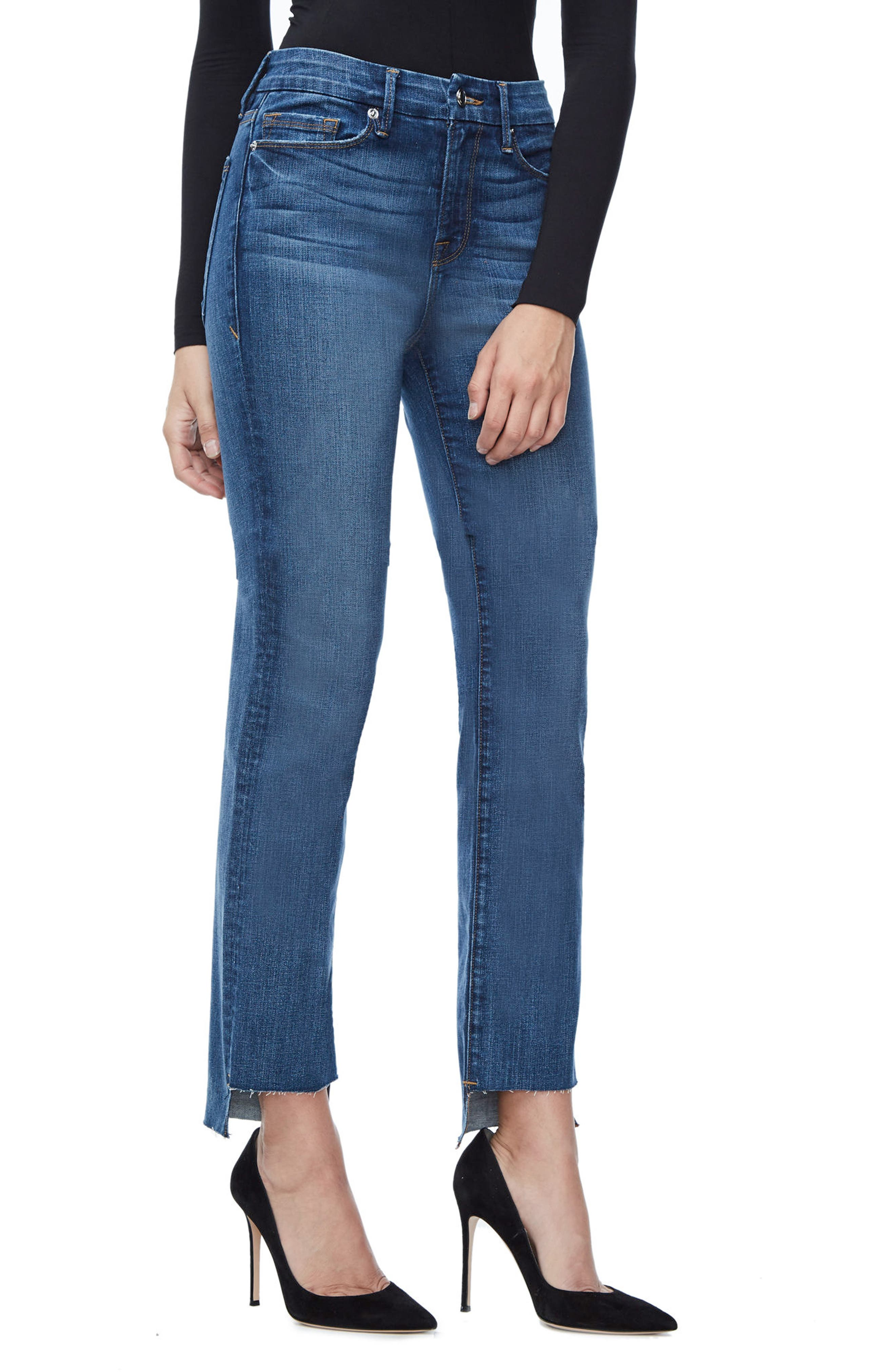 Alternate Image 4  - Good American Good Straight Raw Hem High Waist Straight Leg Jeans (Blue 086) (Extended Sizes)