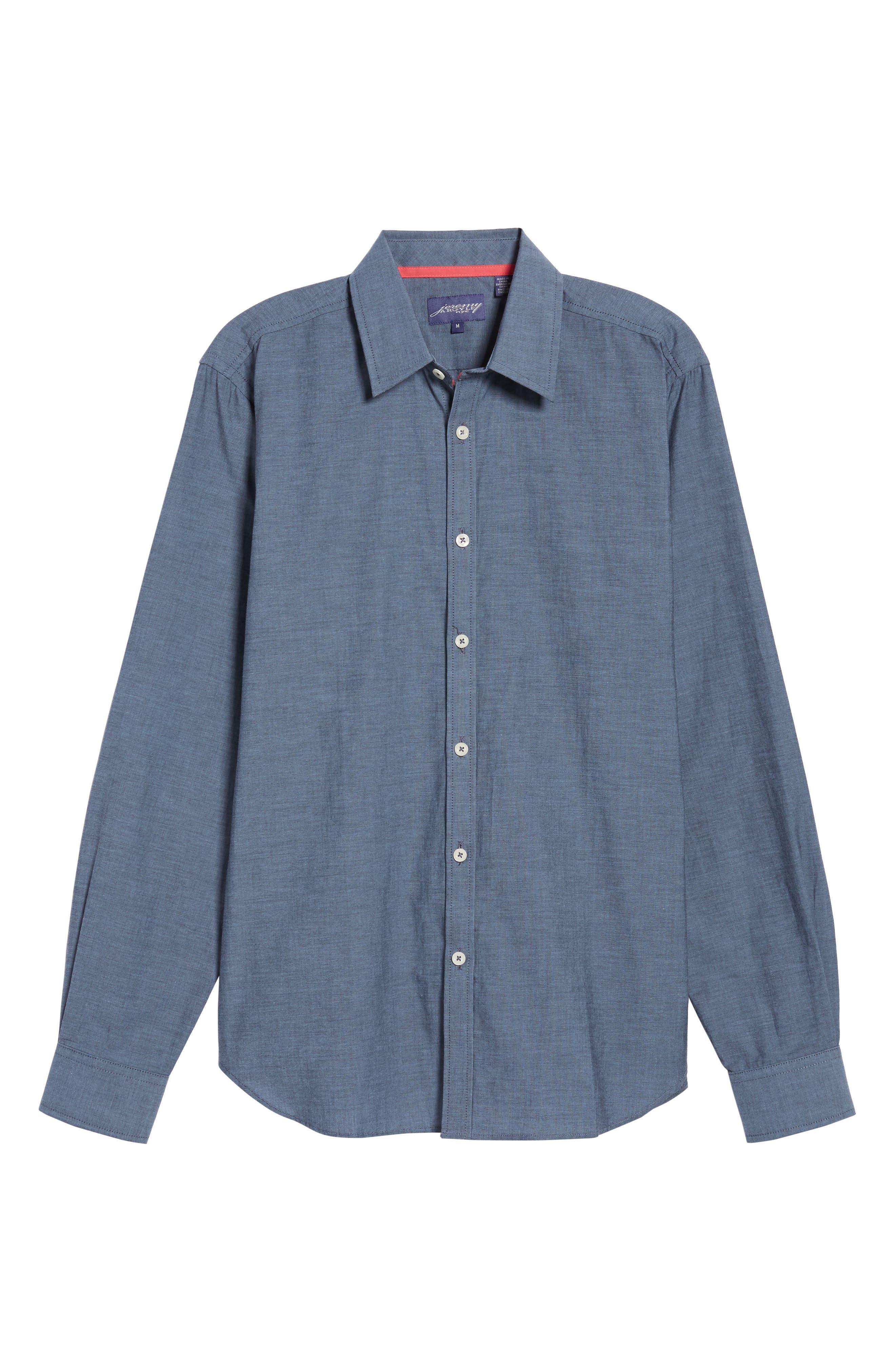 Fitted Sport Shirt,                             Alternate thumbnail 6, color,                             Medium Blue