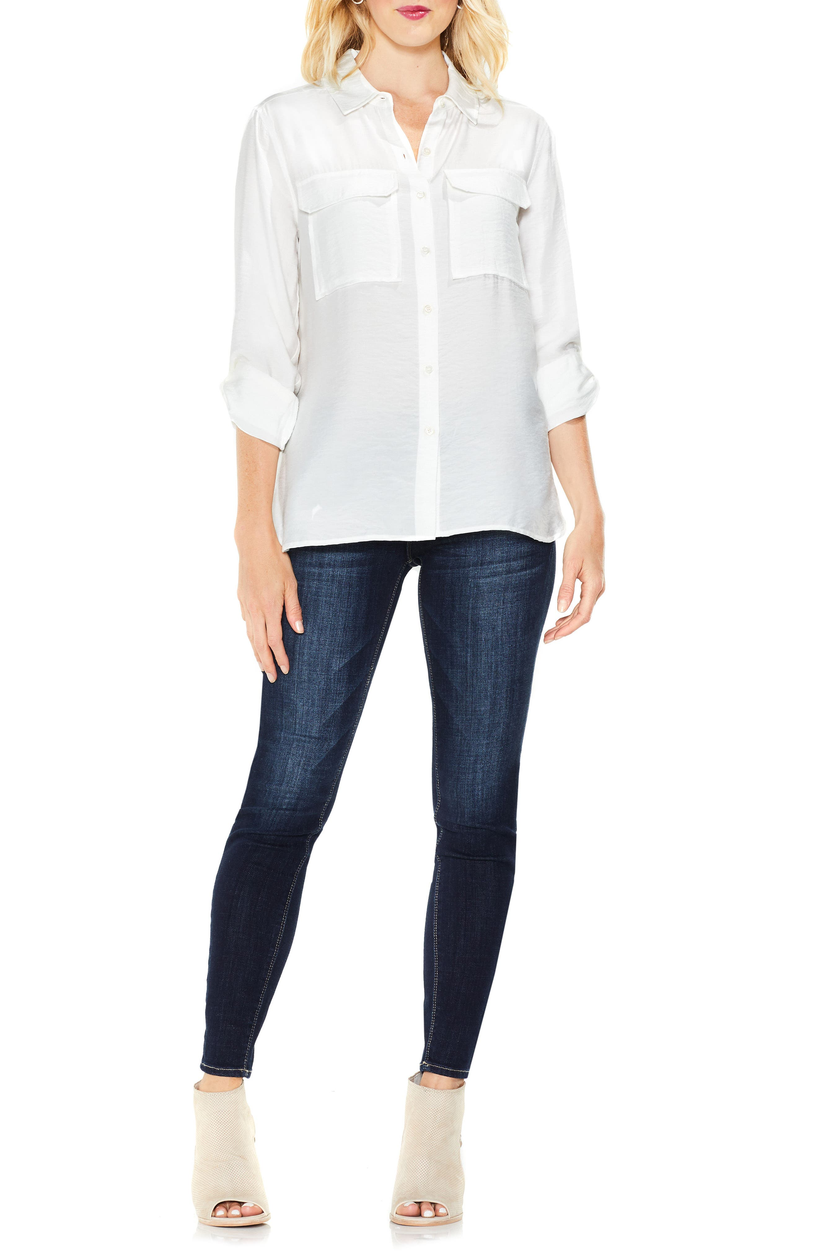 Alternate Image 2  - Two by Vince Camuto Hammered Satin Utility Shirt (Regular & Petite)