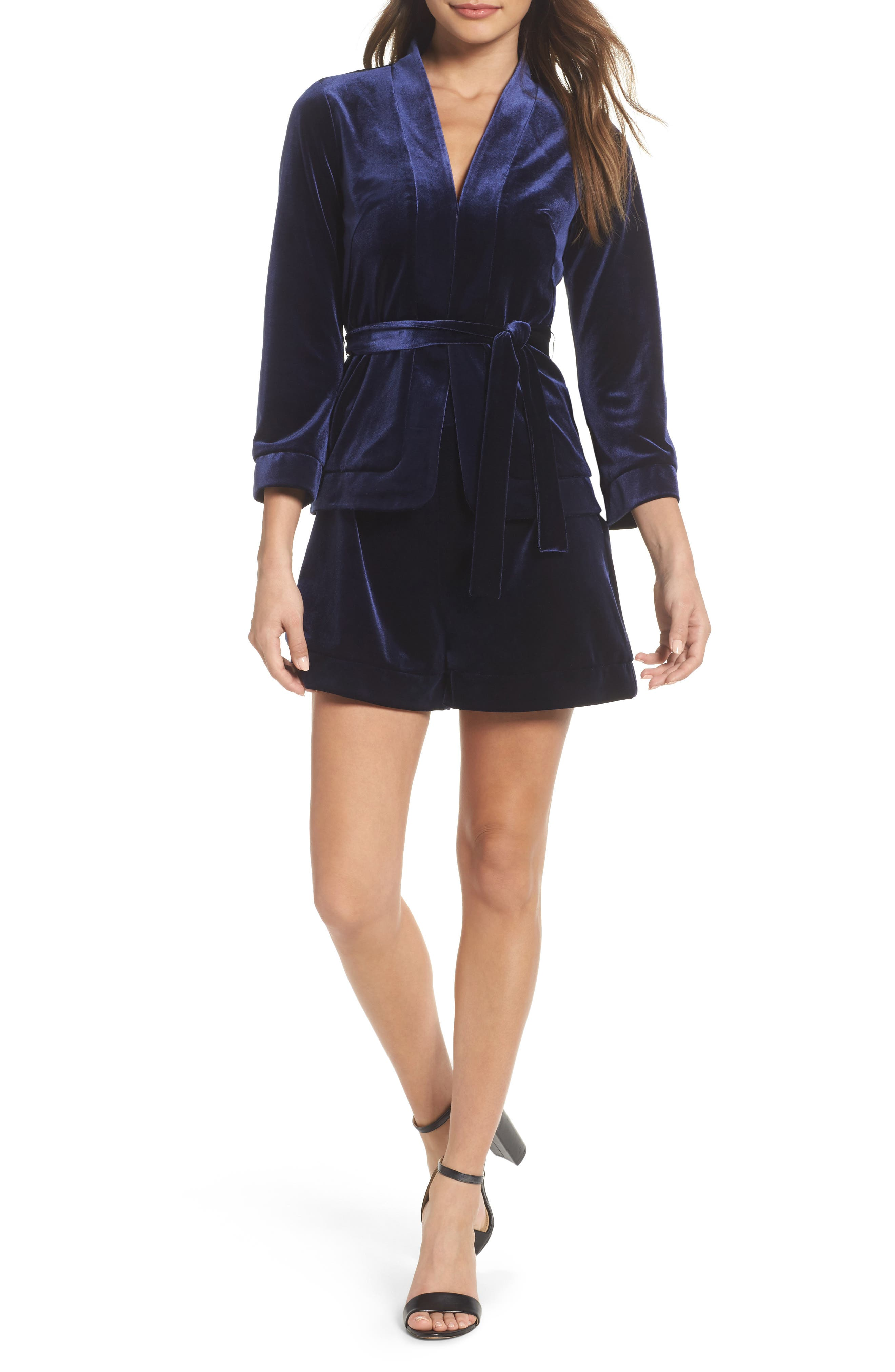 After Hours Velvet Two-Piece Dress,                         Main,                         color, Navy
