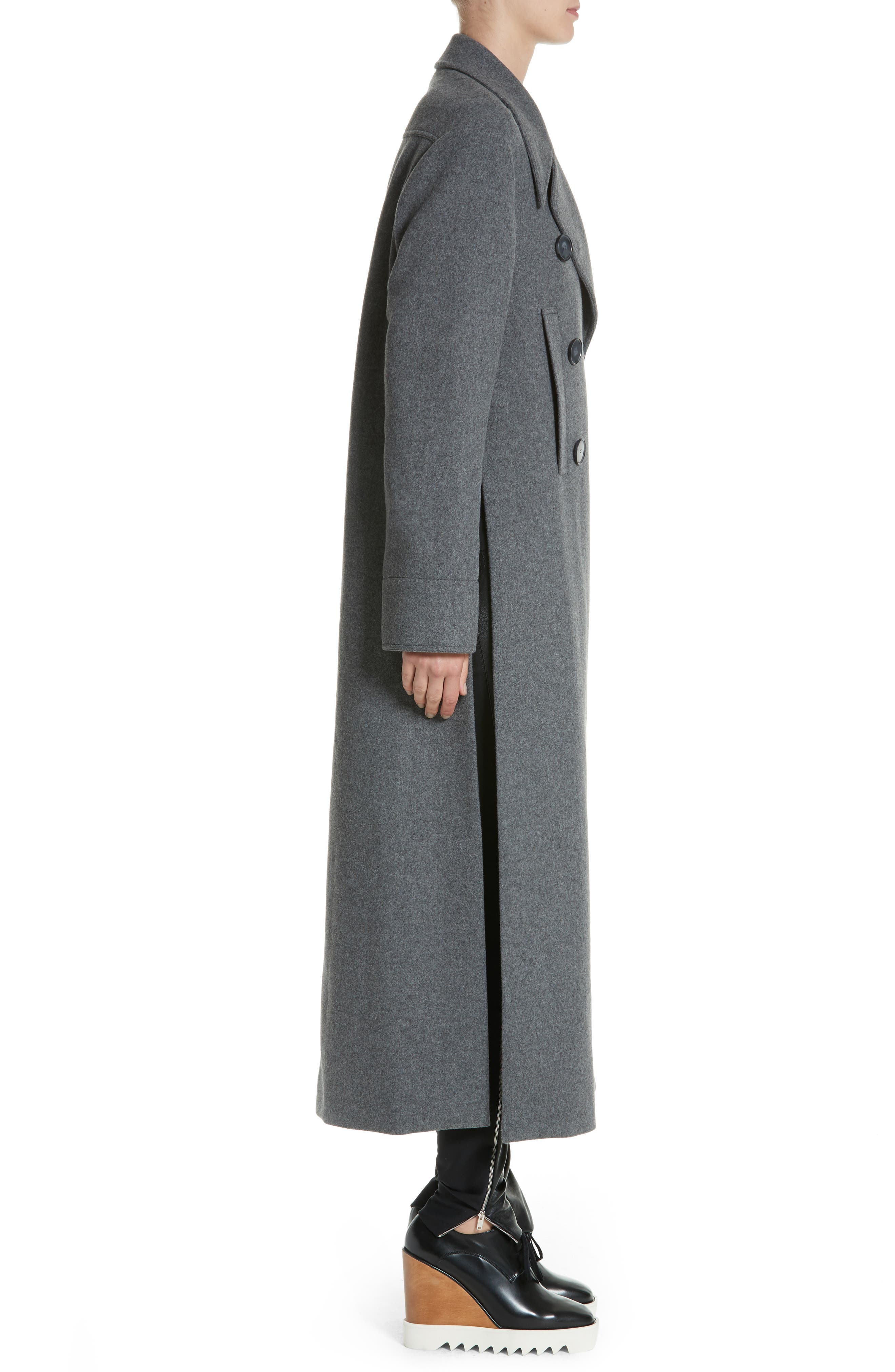Edwina Long Double Breasted Wool Blend Coat,                             Alternate thumbnail 3, color,                             Graphite