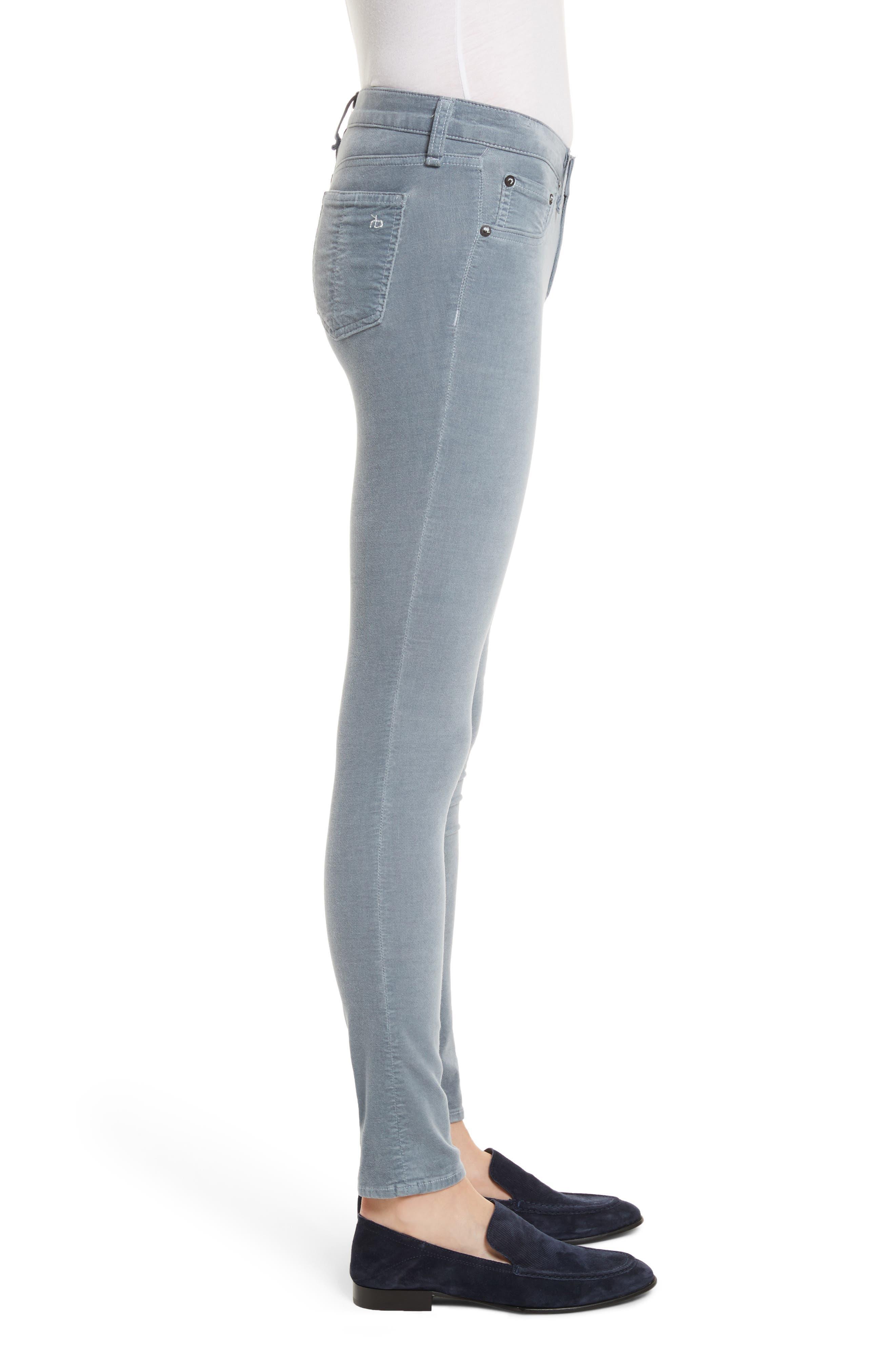 Velvet Skinny Jeans,                             Alternate thumbnail 3, color,                             Steel Blue Velvet