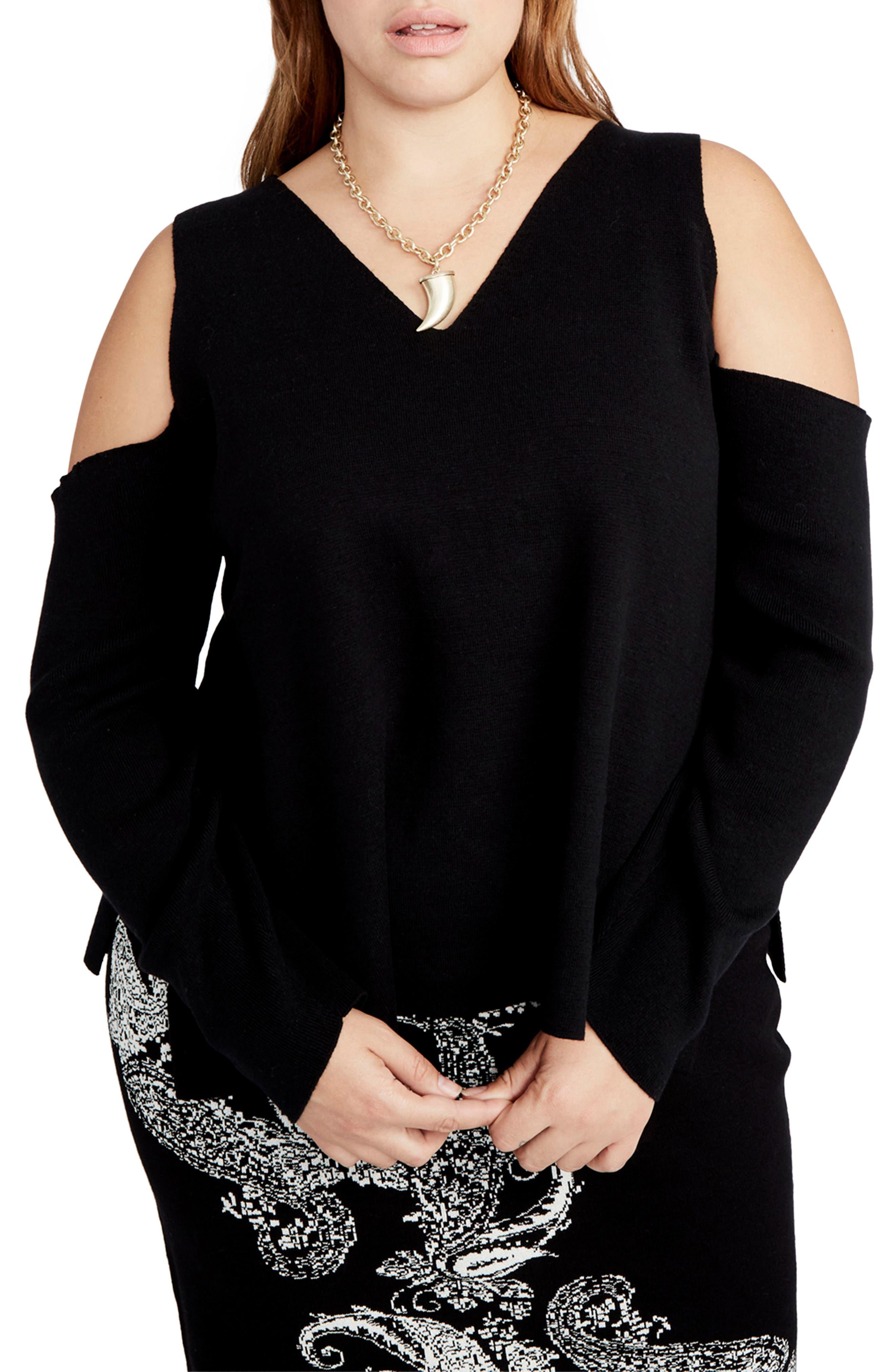 RACHEL Rachel Roy Cold Shoulder V-Neck Sweater (Plus Size)