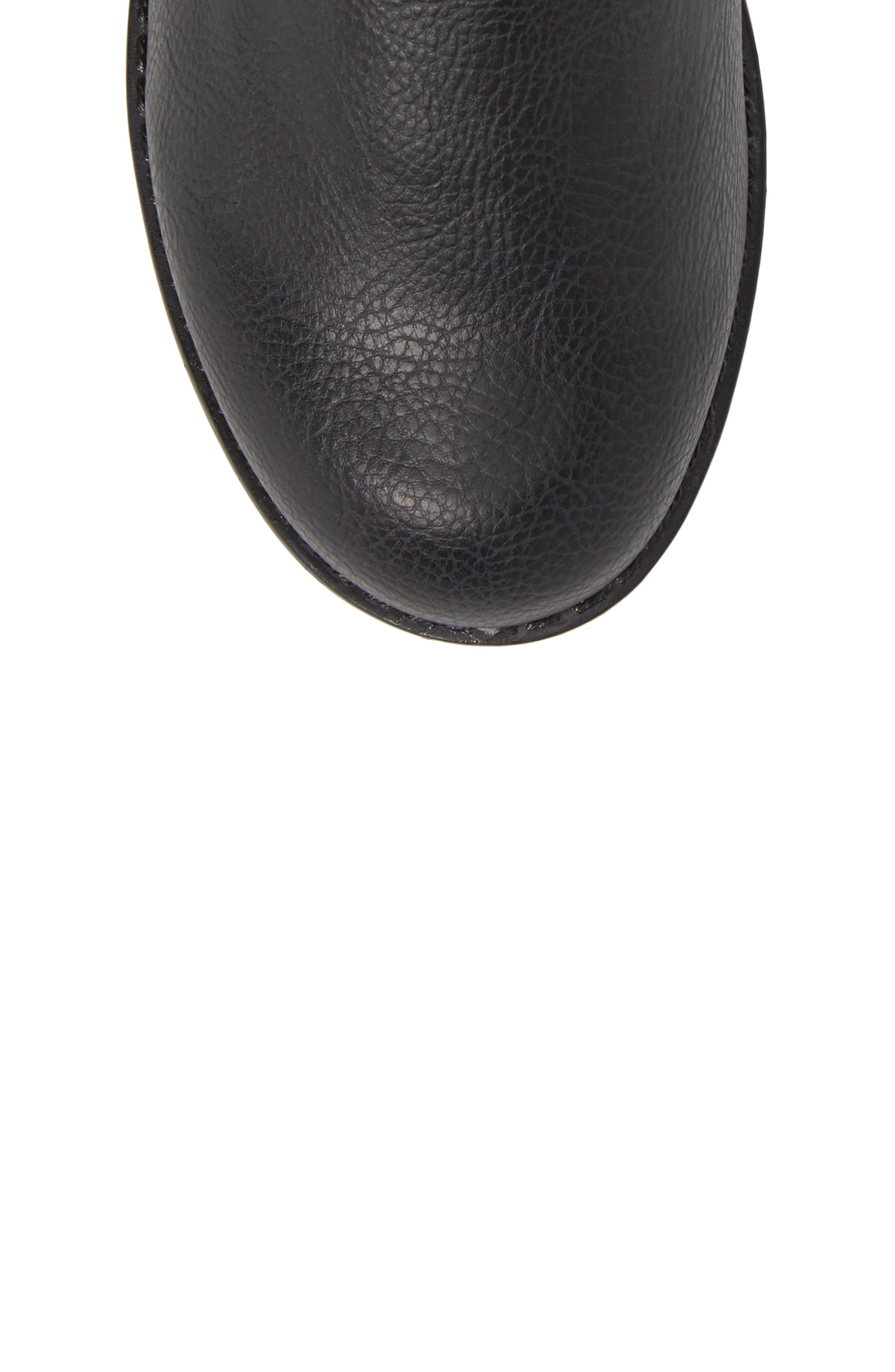 Autumn Stretch Boot,                             Alternate thumbnail 5, color,                             Black Faux Leather
