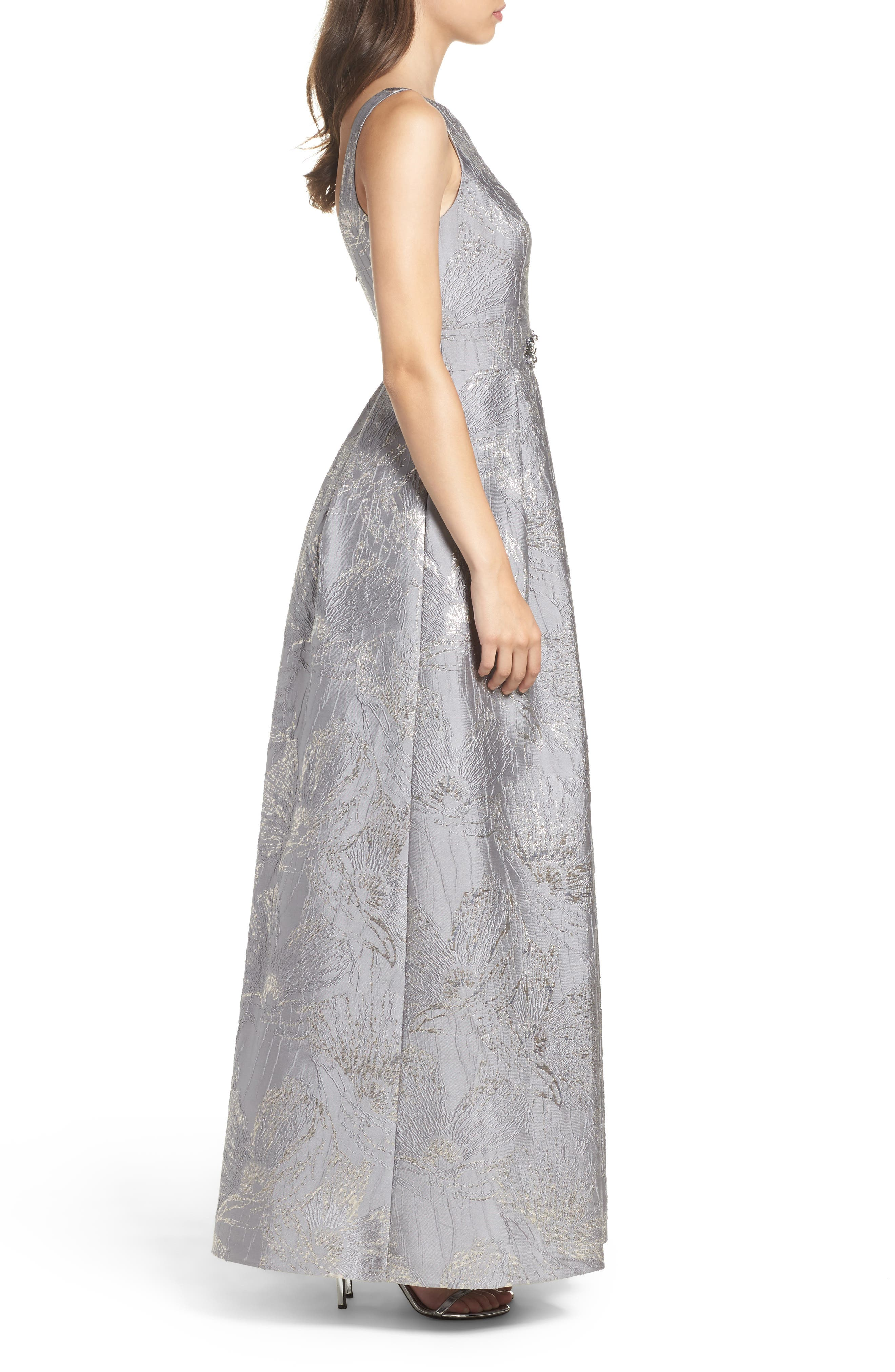 Embellished Brocade Ballgown,                             Alternate thumbnail 3, color,                             Silver