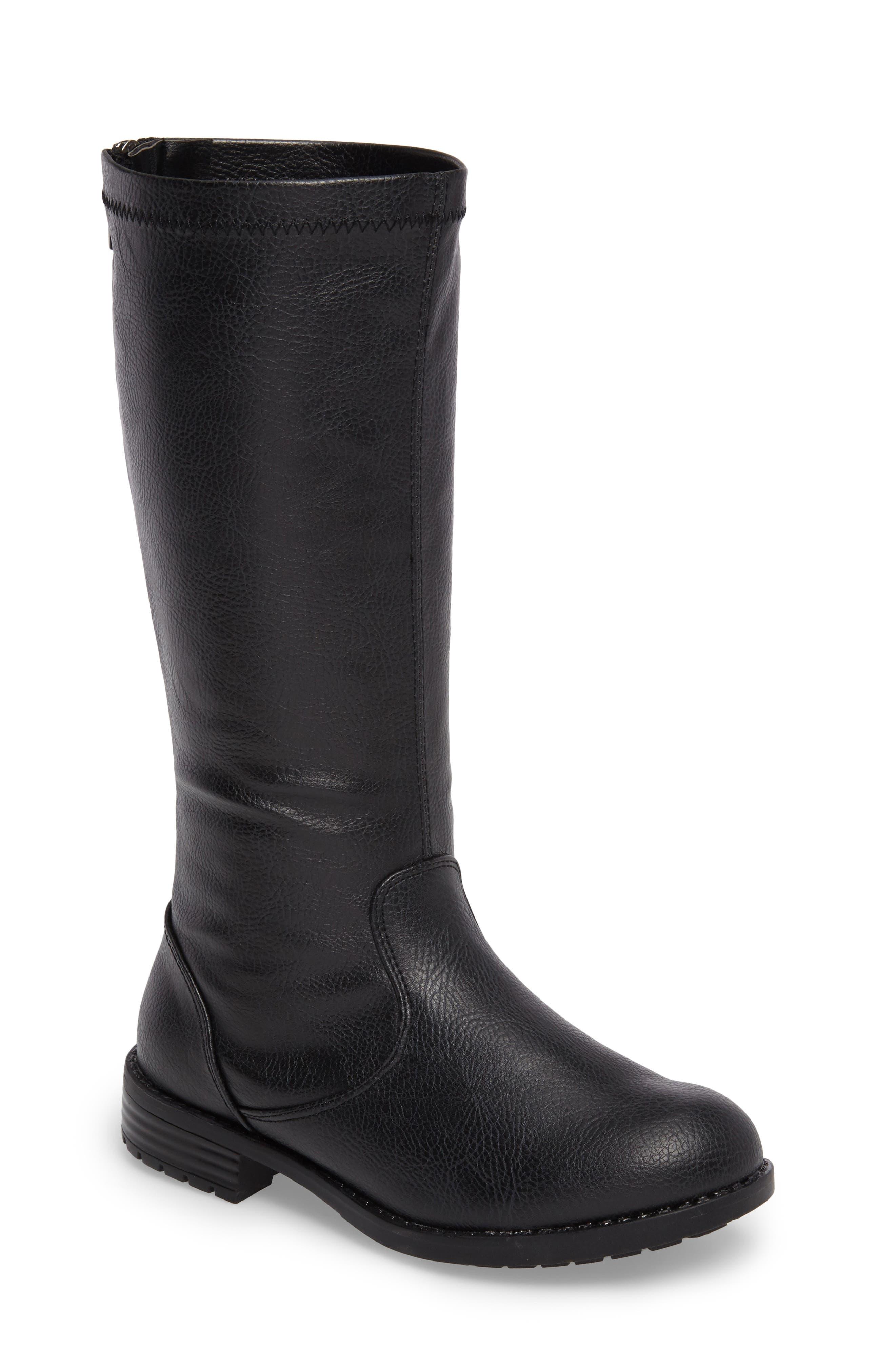 Autumn Stretch Boot,                             Main thumbnail 1, color,                             Black Faux Leather