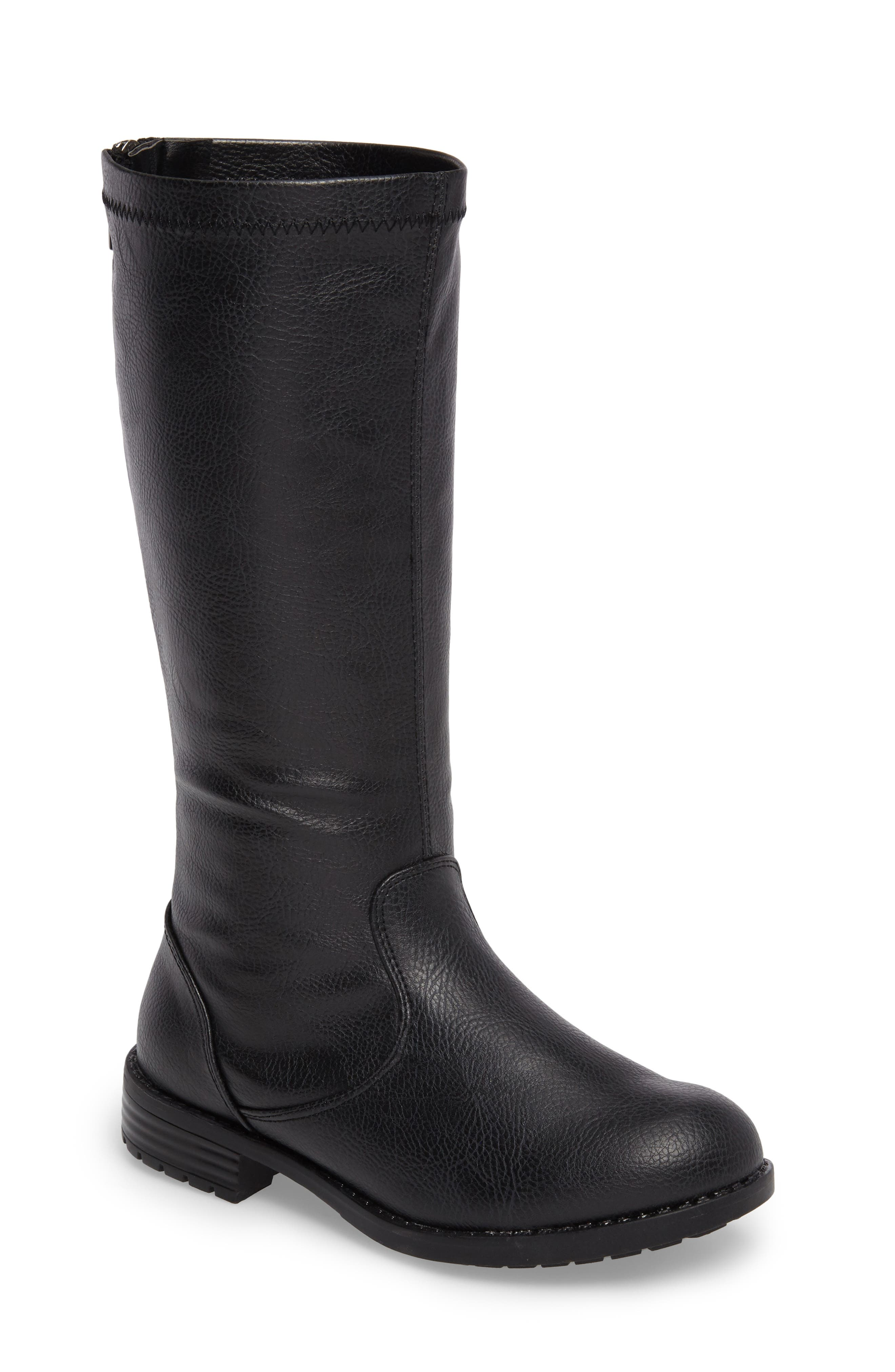 Autumn Stretch Boot,                         Main,                         color, Black Faux Leather