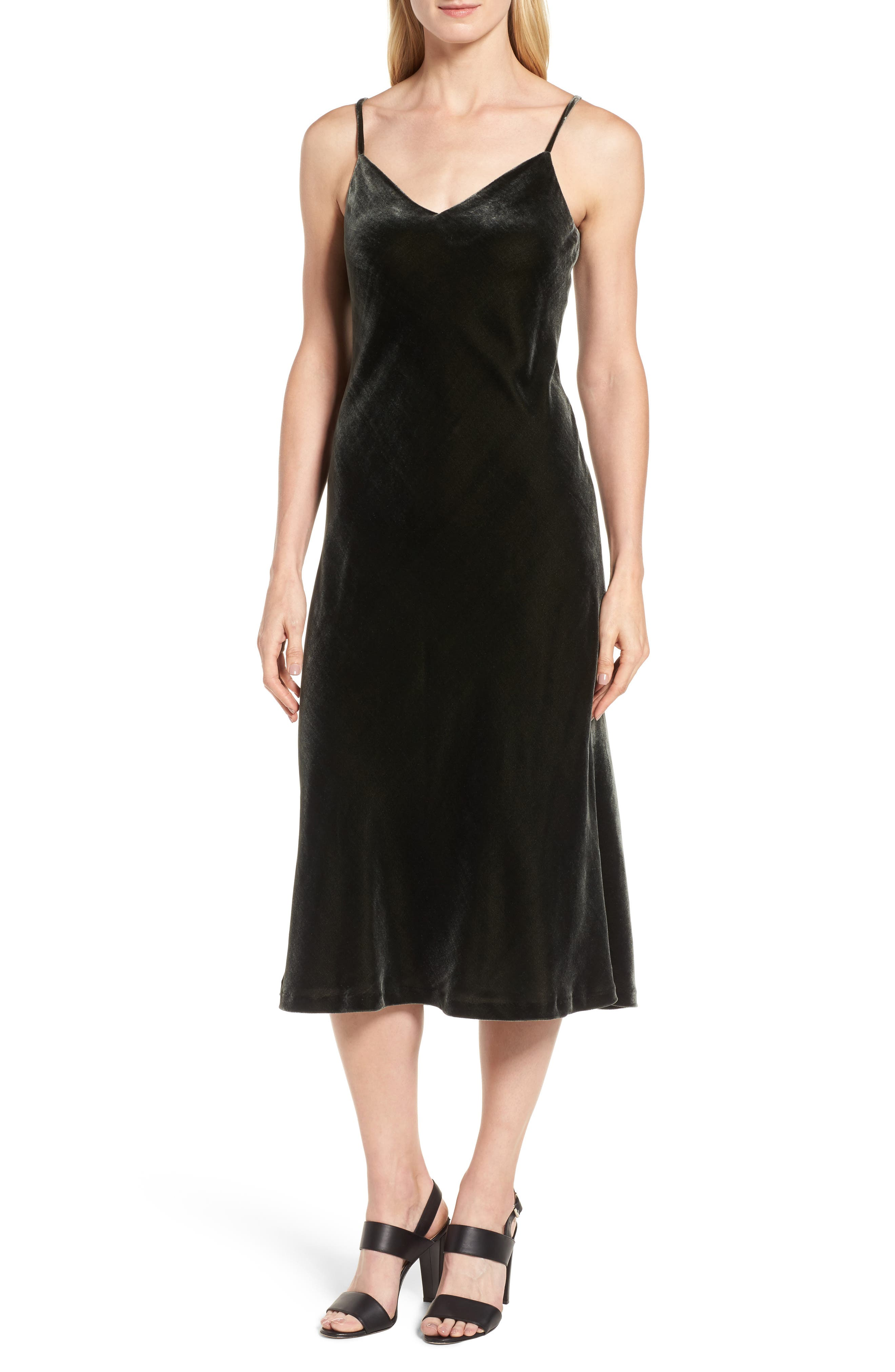 Velvet Slipdress,                             Main thumbnail 1, color,                             Olive Sarma